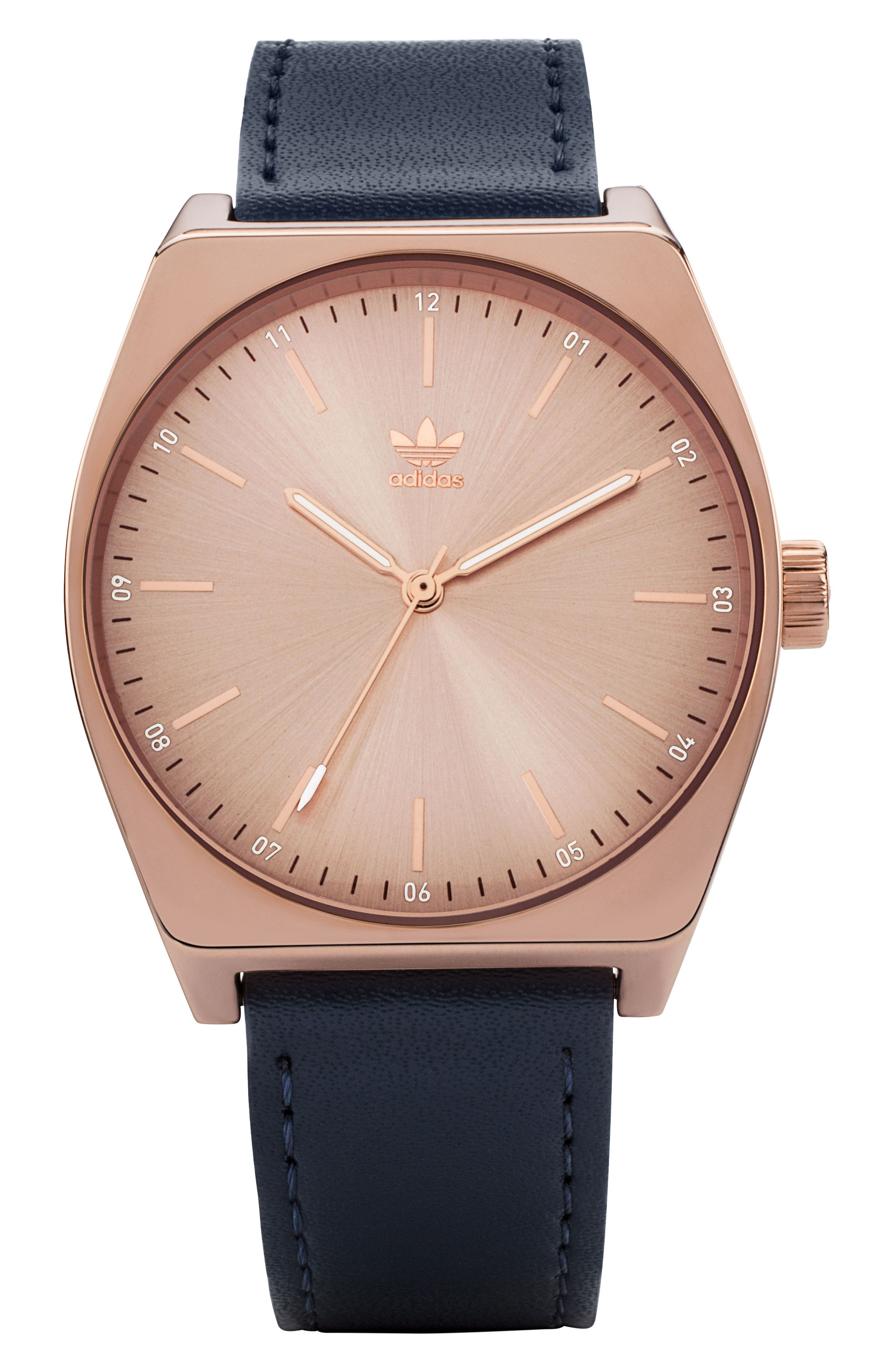Process Leather Strap Watch, 38mm,                             Main thumbnail 1, color,                             Rose Gold/ Navy