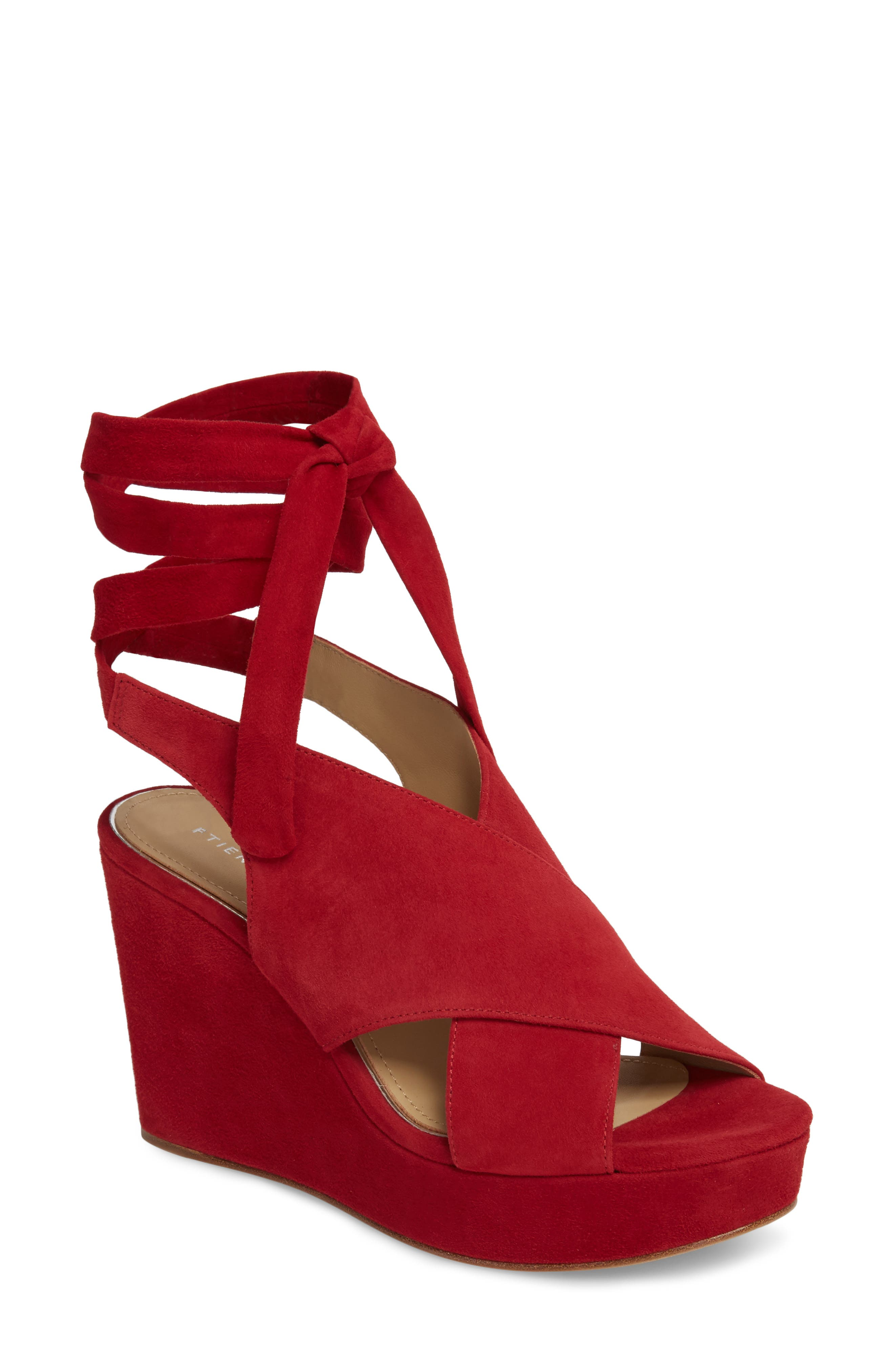 Dominica Platform Wedge Sandal,                         Main,                         color, Cherry Suede