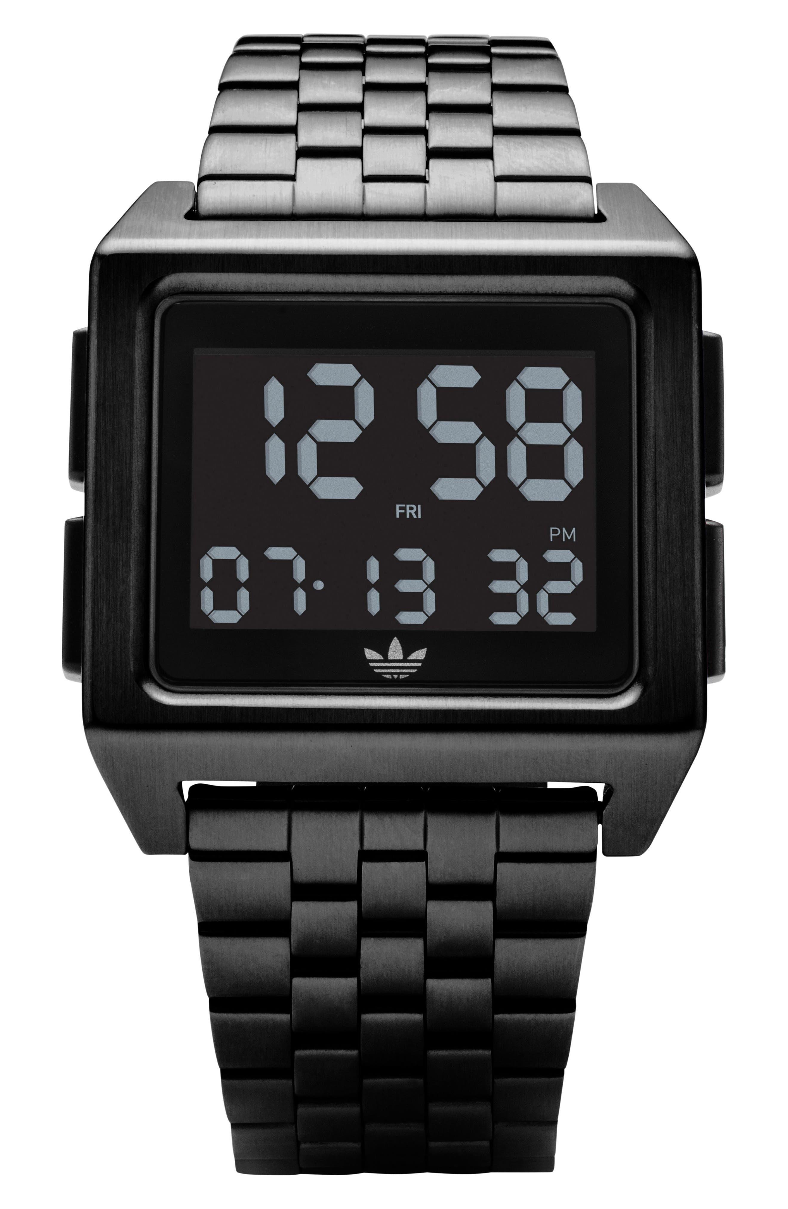Archive Digital Bracelet Watch, 36mm,                             Main thumbnail 1, color,                             Black