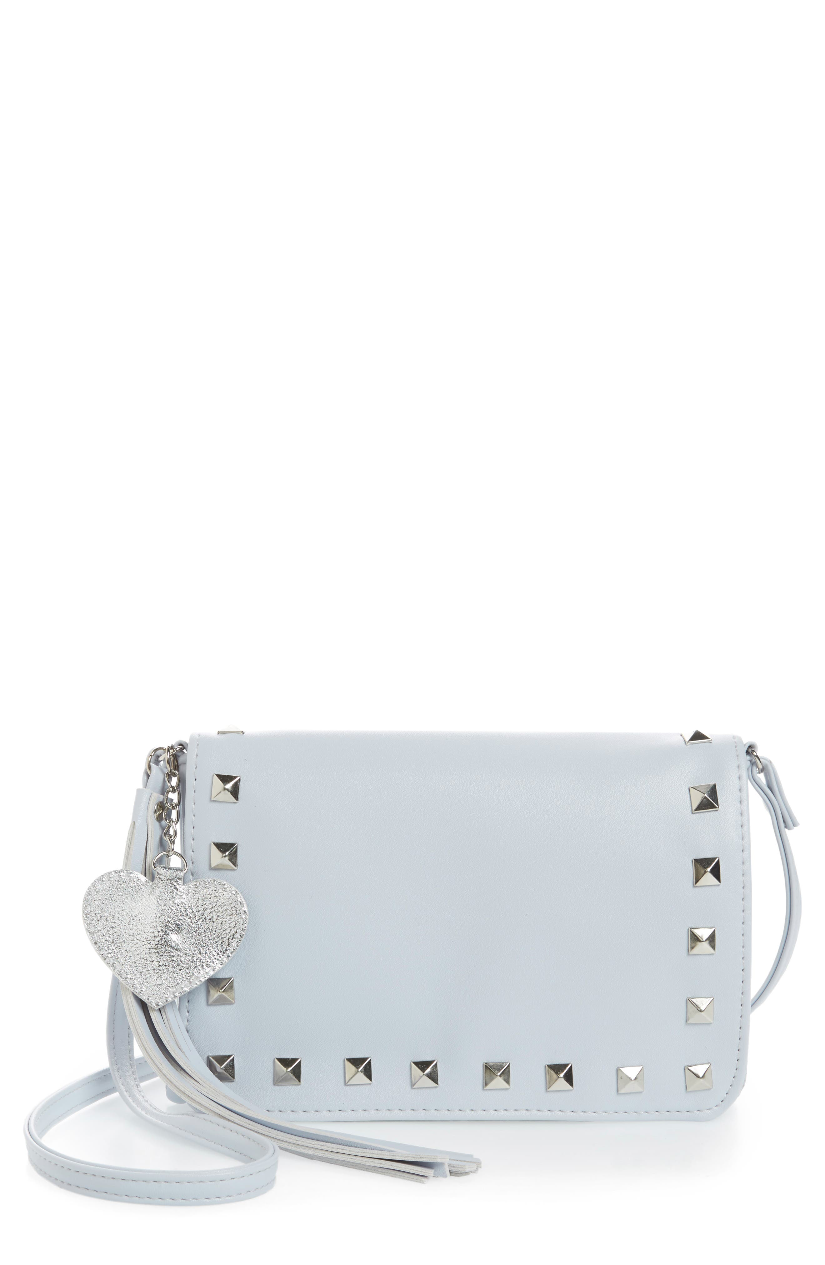 Studded Faux Leather Crossbody Bag,                             Main thumbnail 1, color,                             Grey Combo