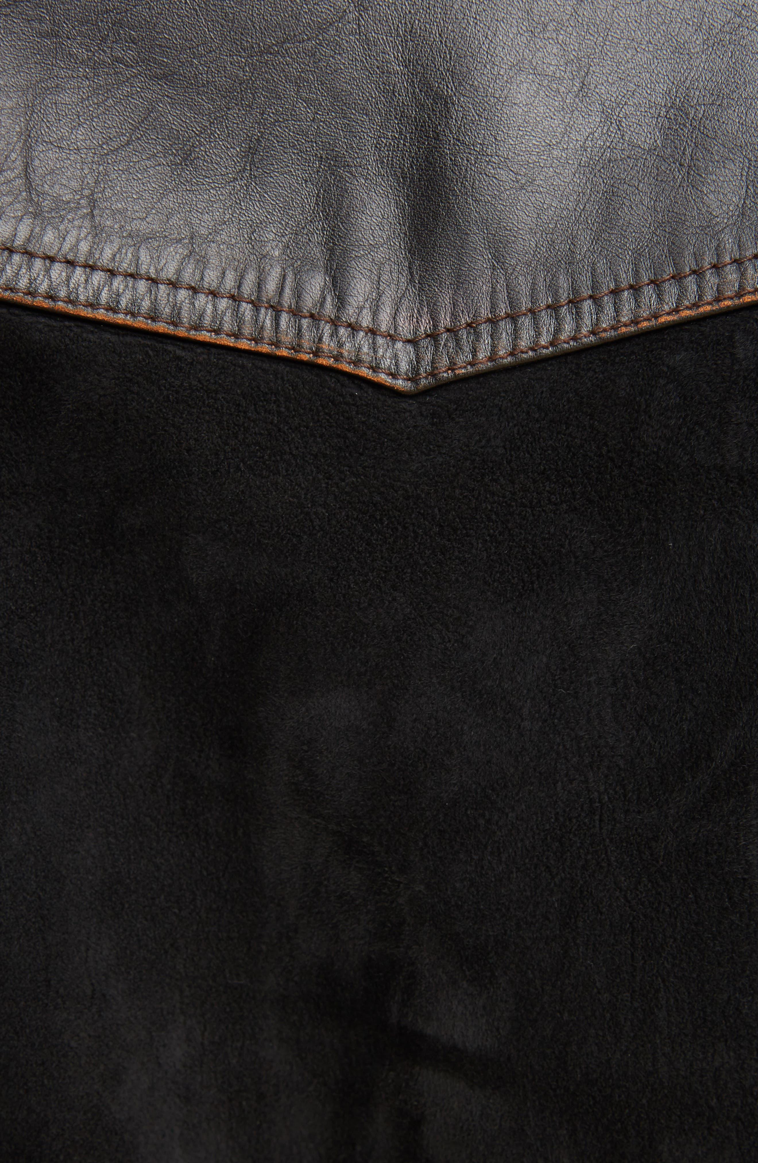 Suede & Leather Bomber Jacket,                             Alternate thumbnail 5, color,                             Black