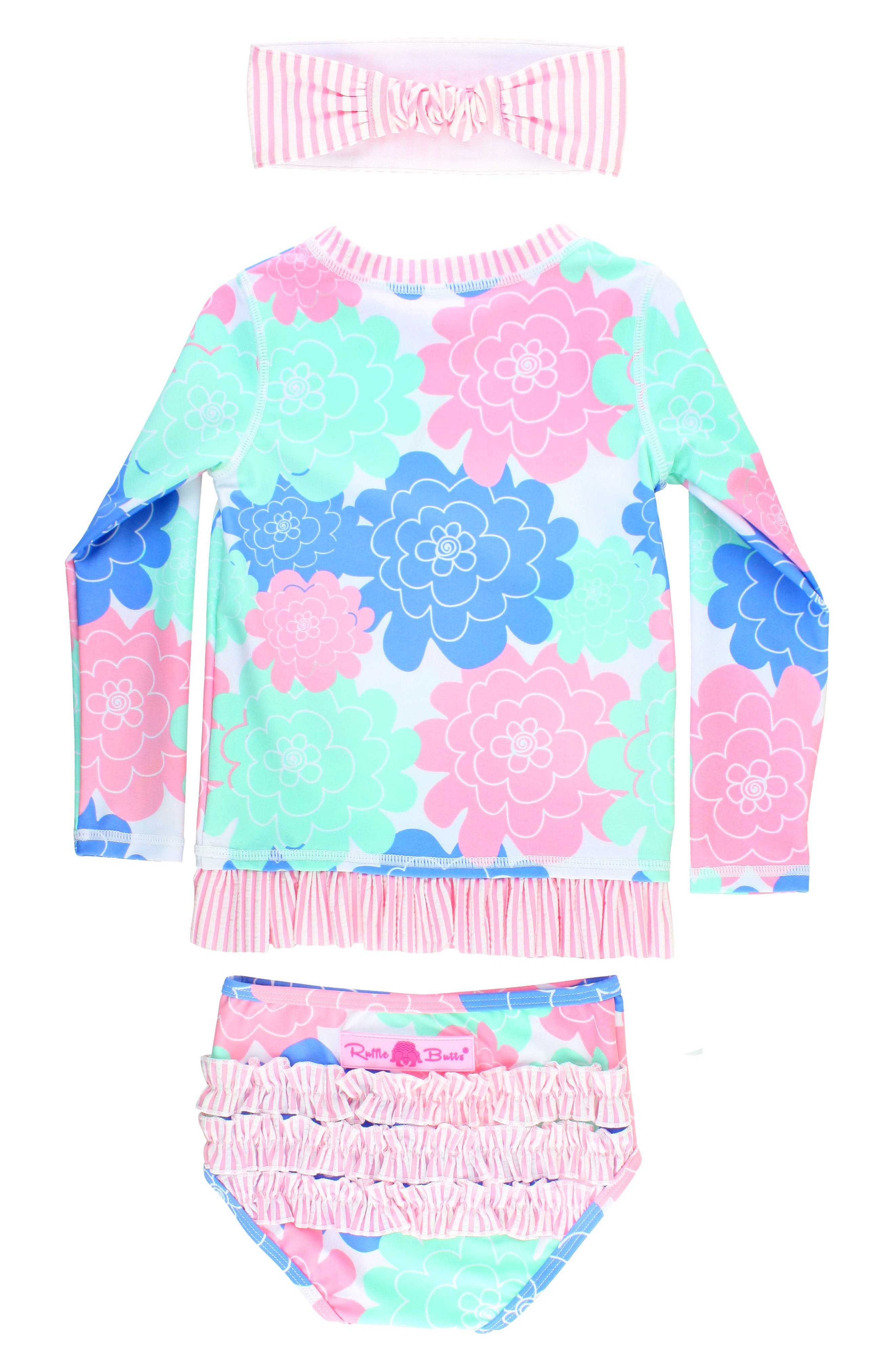Pastel Petals Two-Piece Rashguard Swimsuit & Head Wrap Set,                             Alternate thumbnail 2, color,                             White