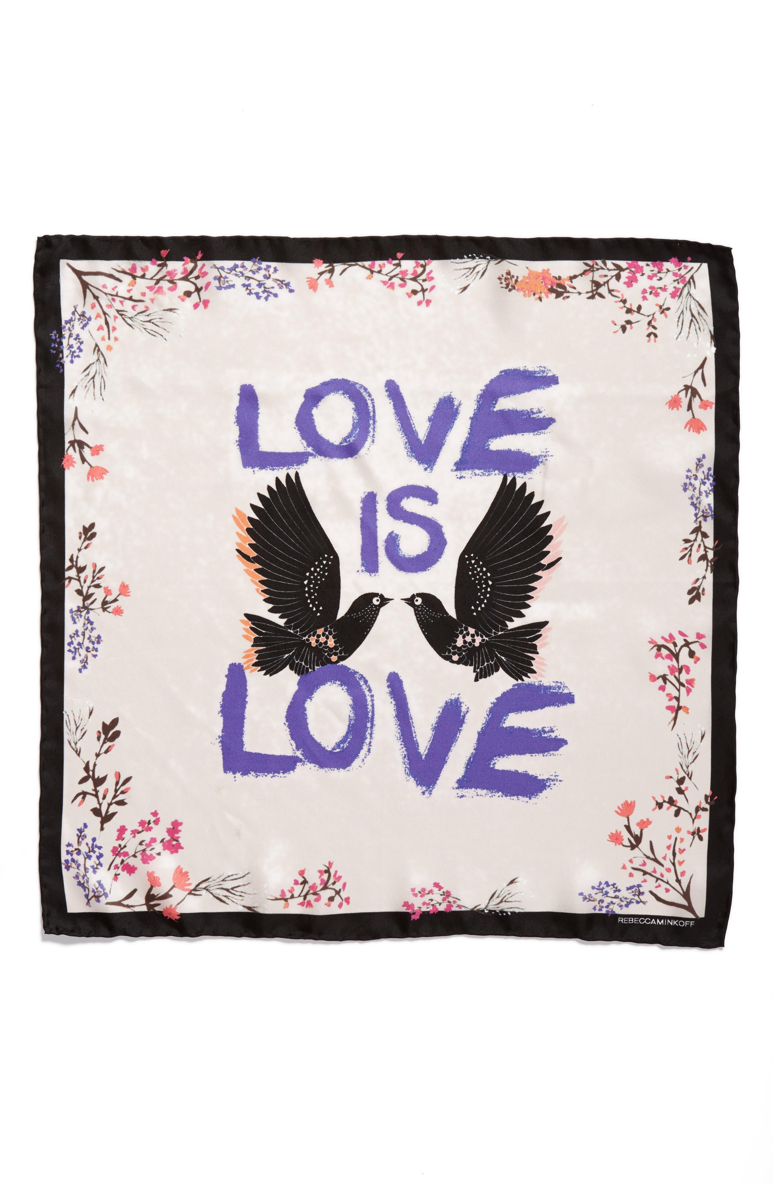 Love Doves Silk Bandana,                             Alternate thumbnail 3, color,                             Whisper Pink