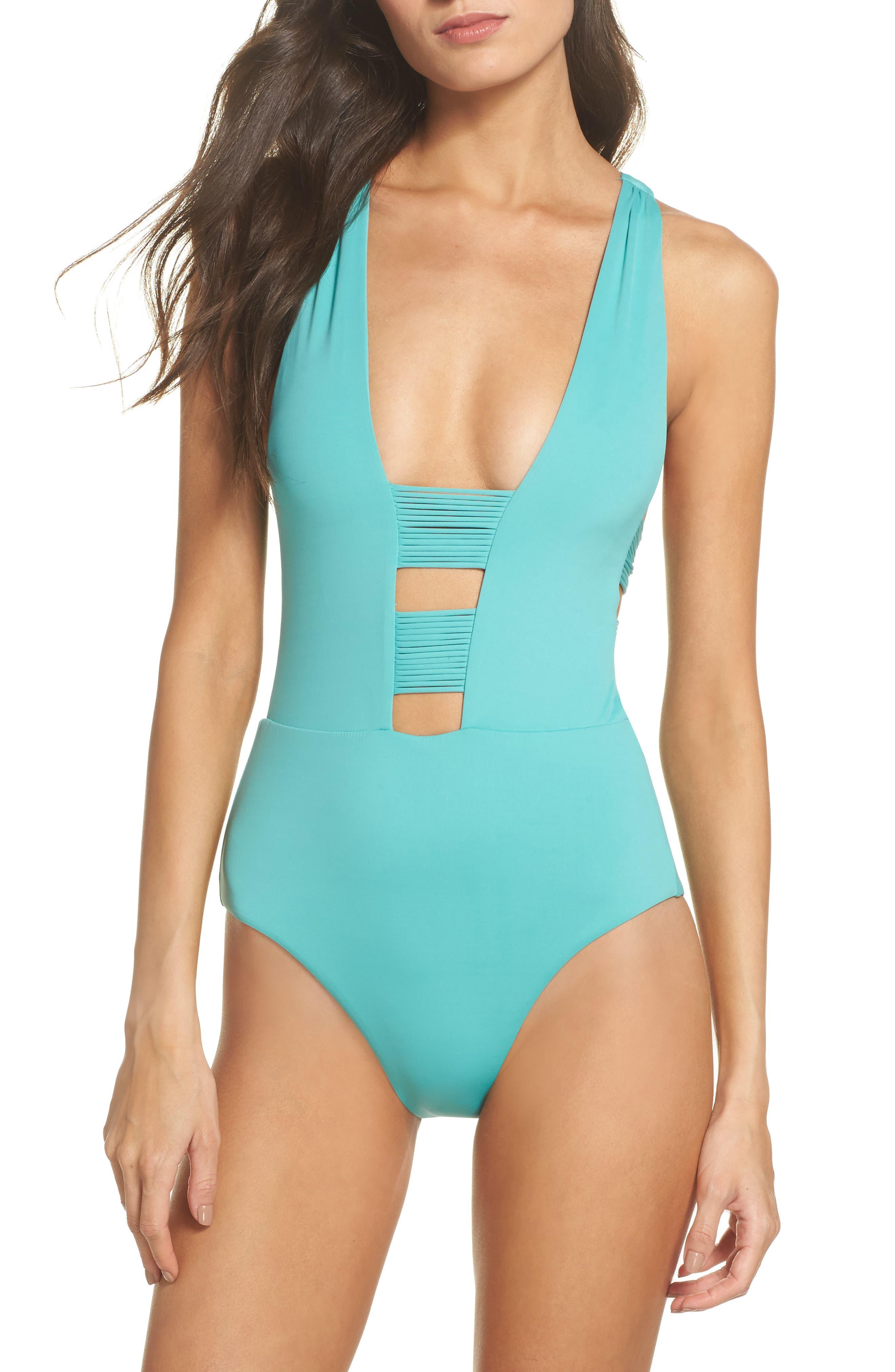 Beach Solids One-Piece Swimsuit,                         Main,                         color, Caribbean