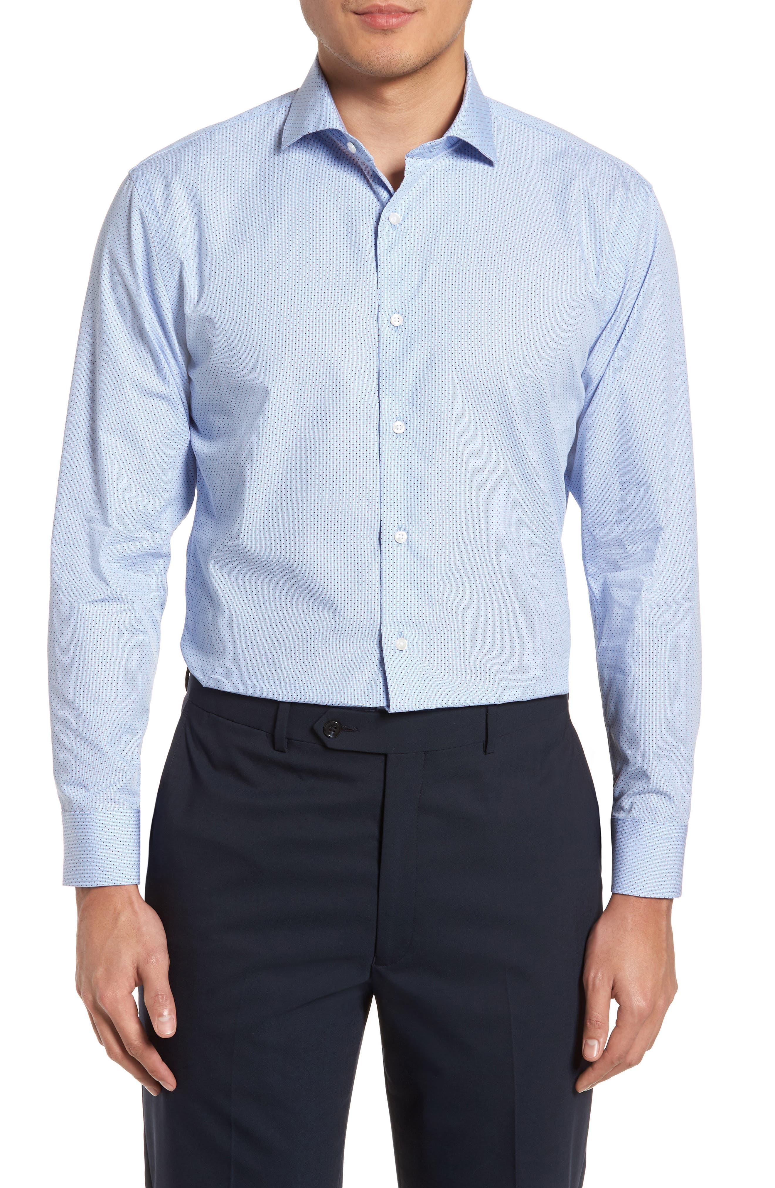 Trim Fit Print Dress Shirt,                             Main thumbnail 1, color,                             Blue Provence