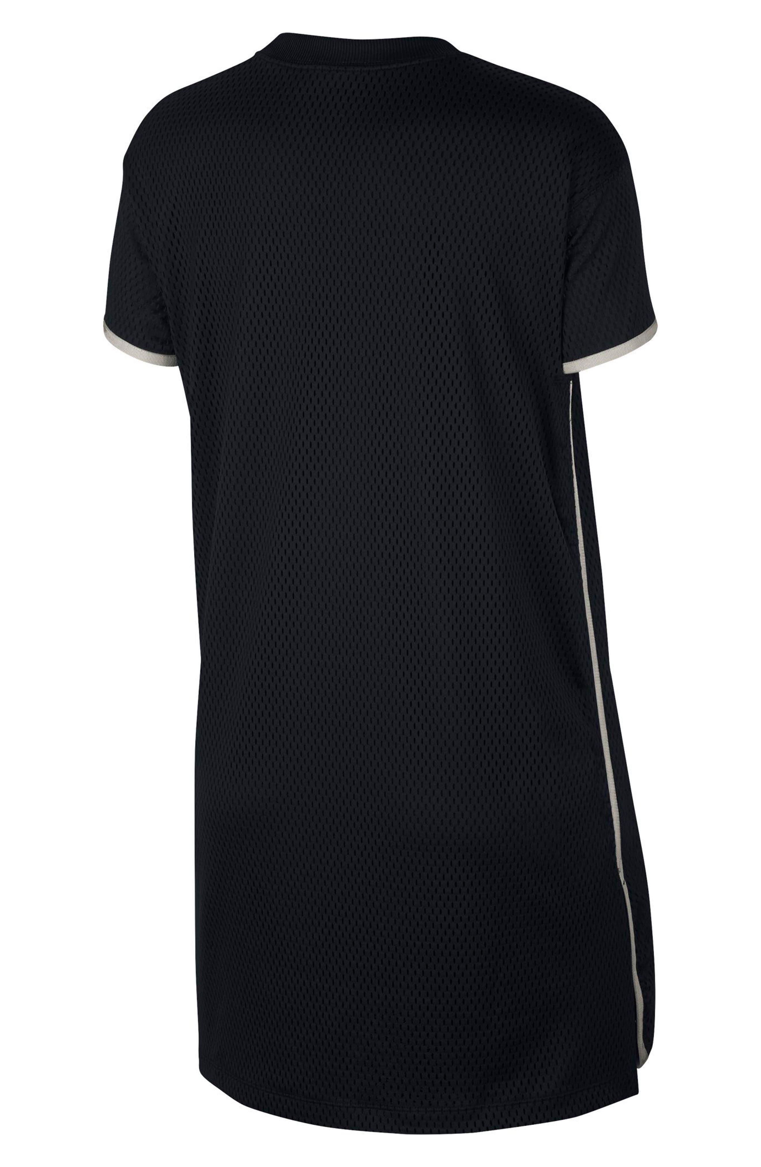 Sportswear Short Sleeve Dri-FIT Mesh T-Shirt Dress,                             Alternate thumbnail 2, color,                             Black/ Light Bone