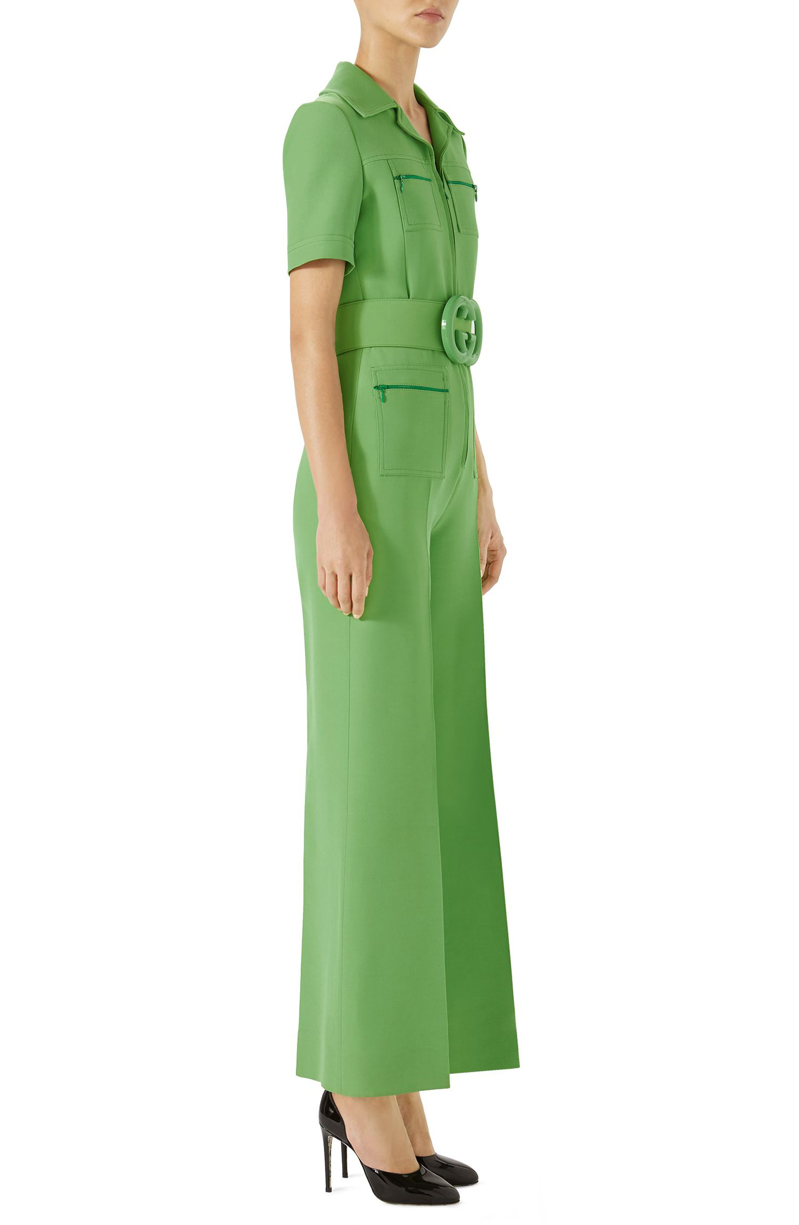 Belted Wide Leg Wool & Silk Cady Jumpsuit,                             Alternate thumbnail 3, color,                             Fresh Mint