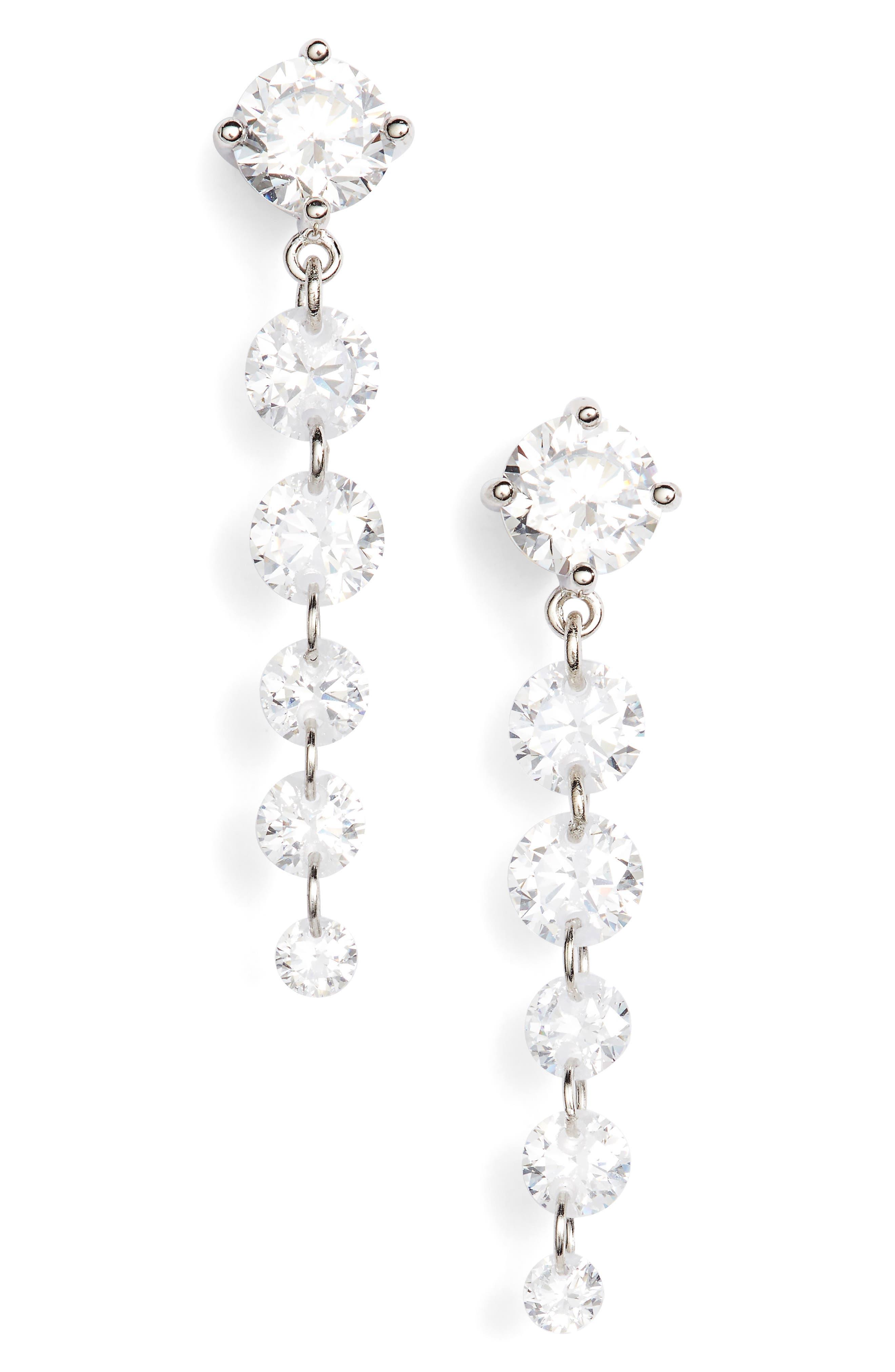 Cubic Zirconia Graduated Drop Earrings,                             Main thumbnail 1, color,                             Platinum