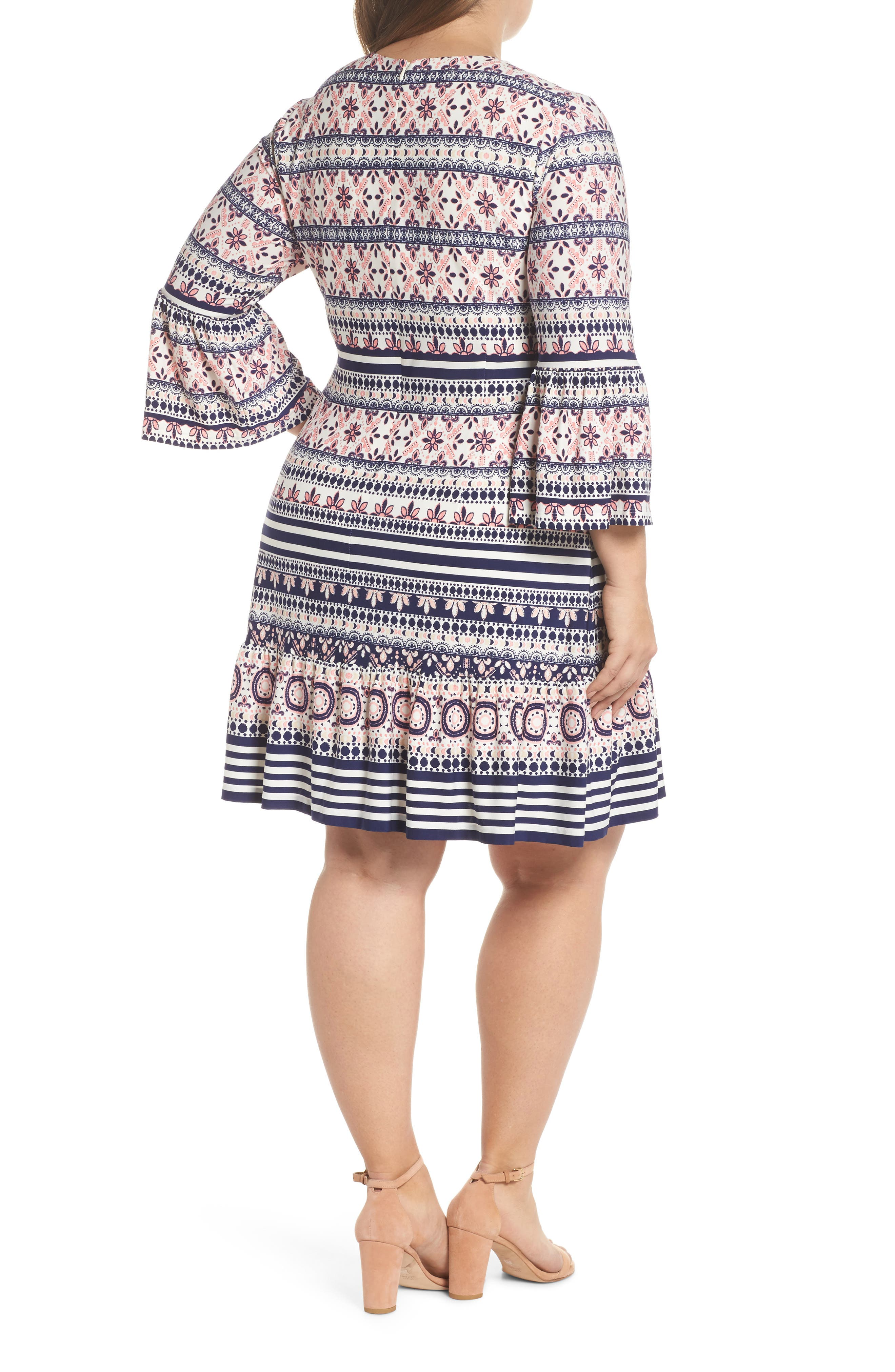 Print Fit & Flare Dress,                             Alternate thumbnail 2, color,                             Pink/ Ivory/ Blue