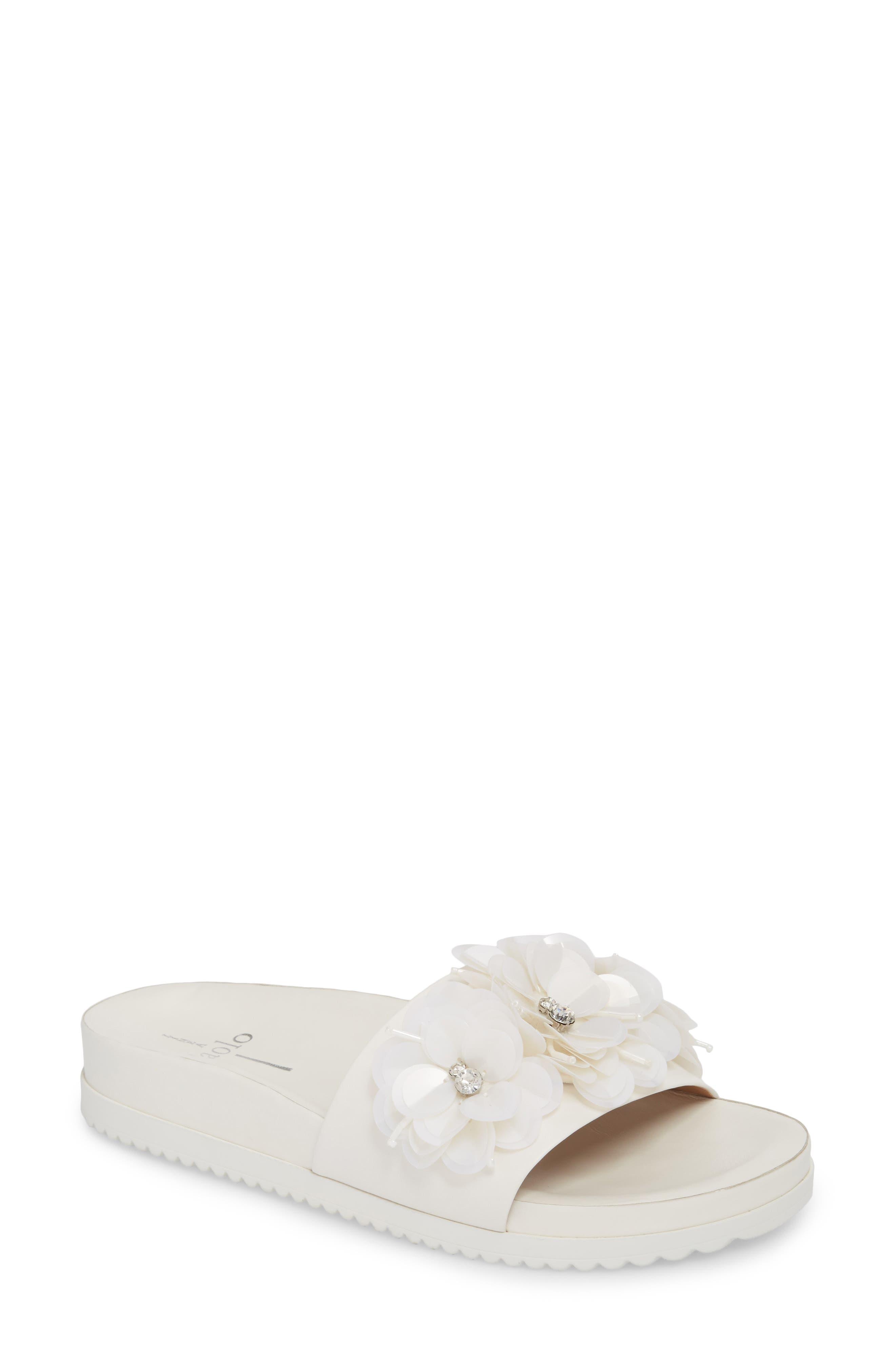 Linea Paolo Lotus Embellished Flower Sandal Slide (Women)