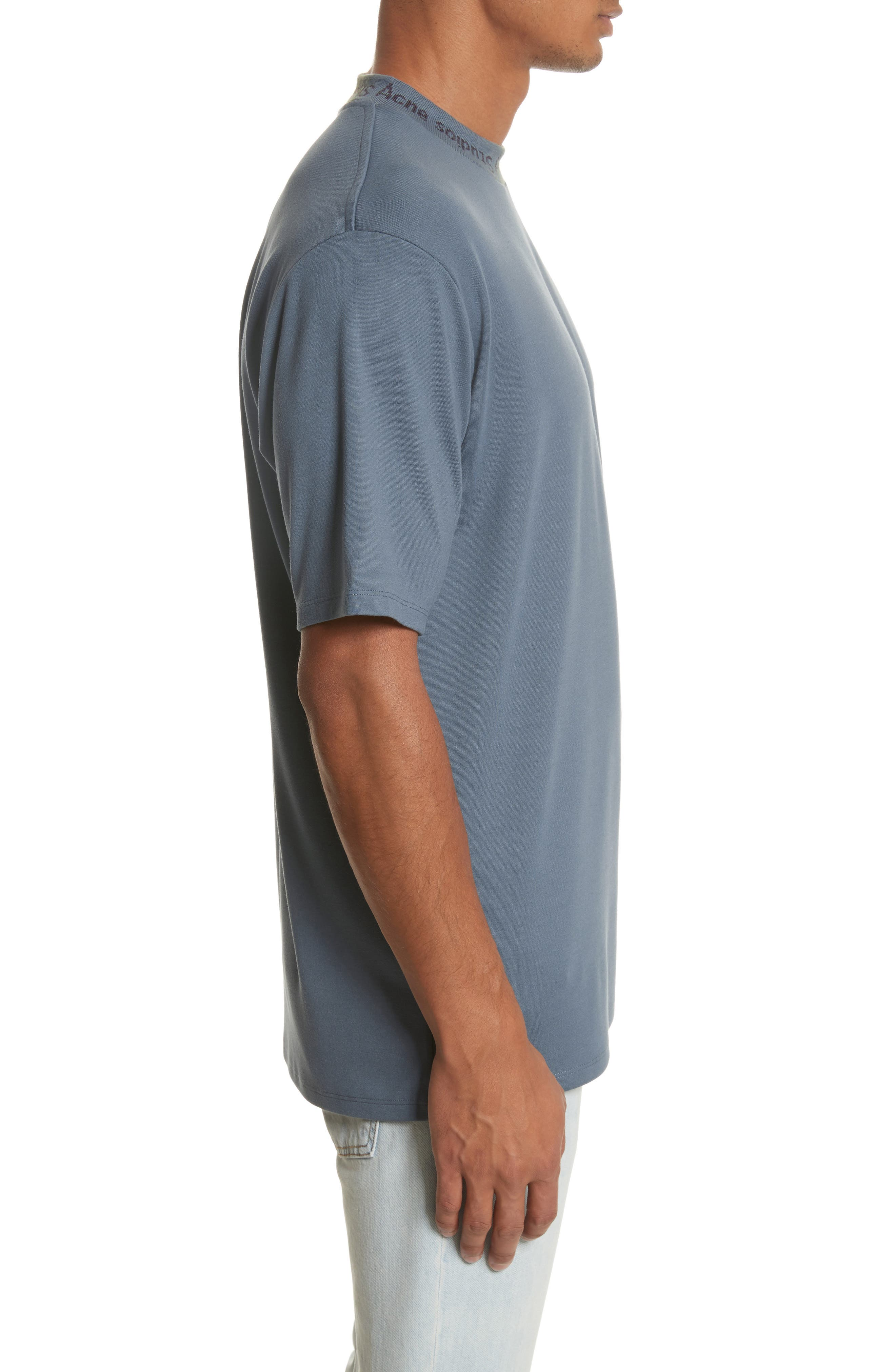 Navid Logo Collar T-Shirt,                             Alternate thumbnail 3, color,                             Pigeon Blue