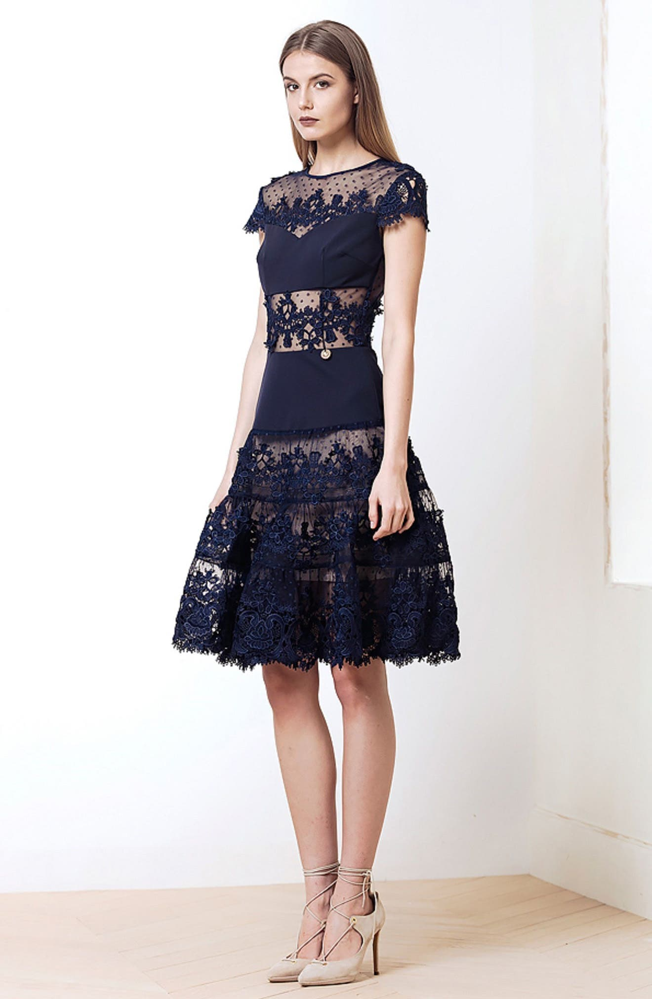 Flamenco Lace Inset Fit & Flare Dress,                             Alternate thumbnail 2, color,                             Navy