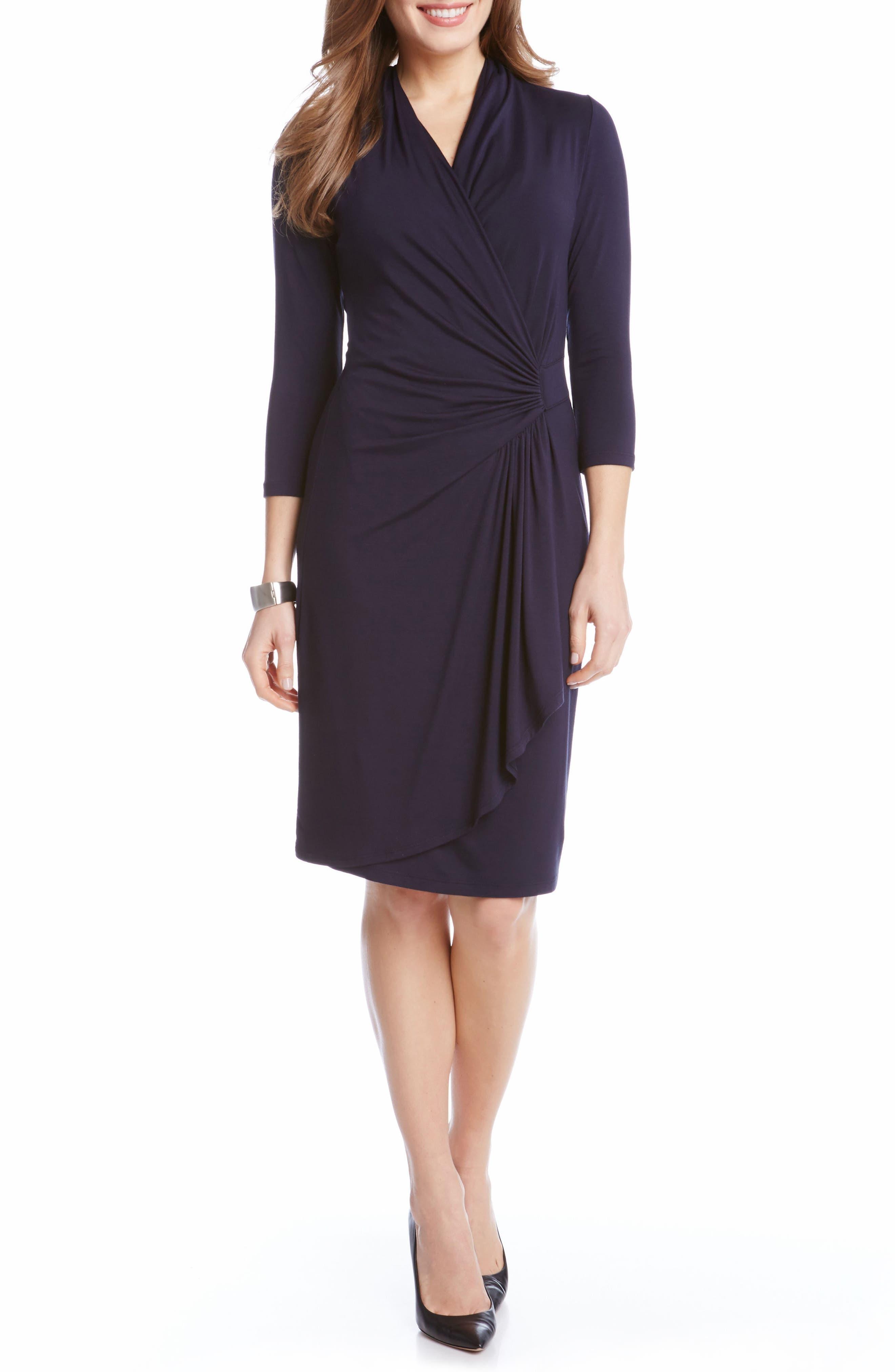 Cascade Faux Wrap Dress,                         Main,                         color, Navy