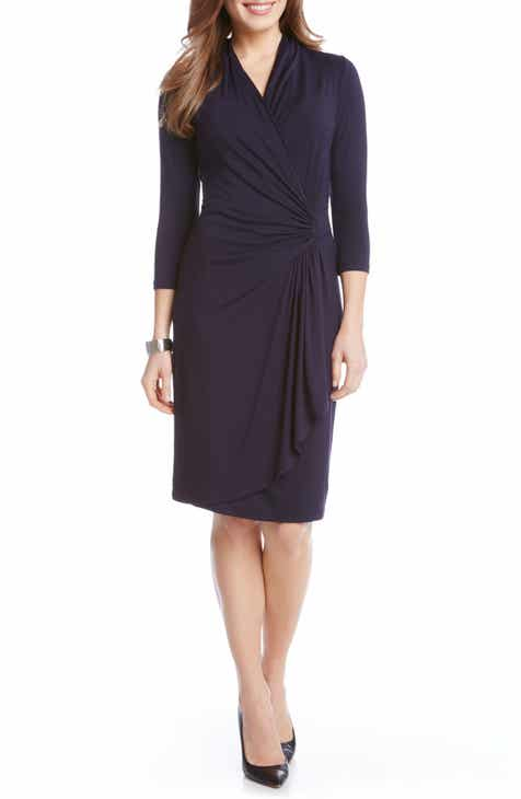 43b6e286 Karen Kane Cascade Faux Wrap Dress