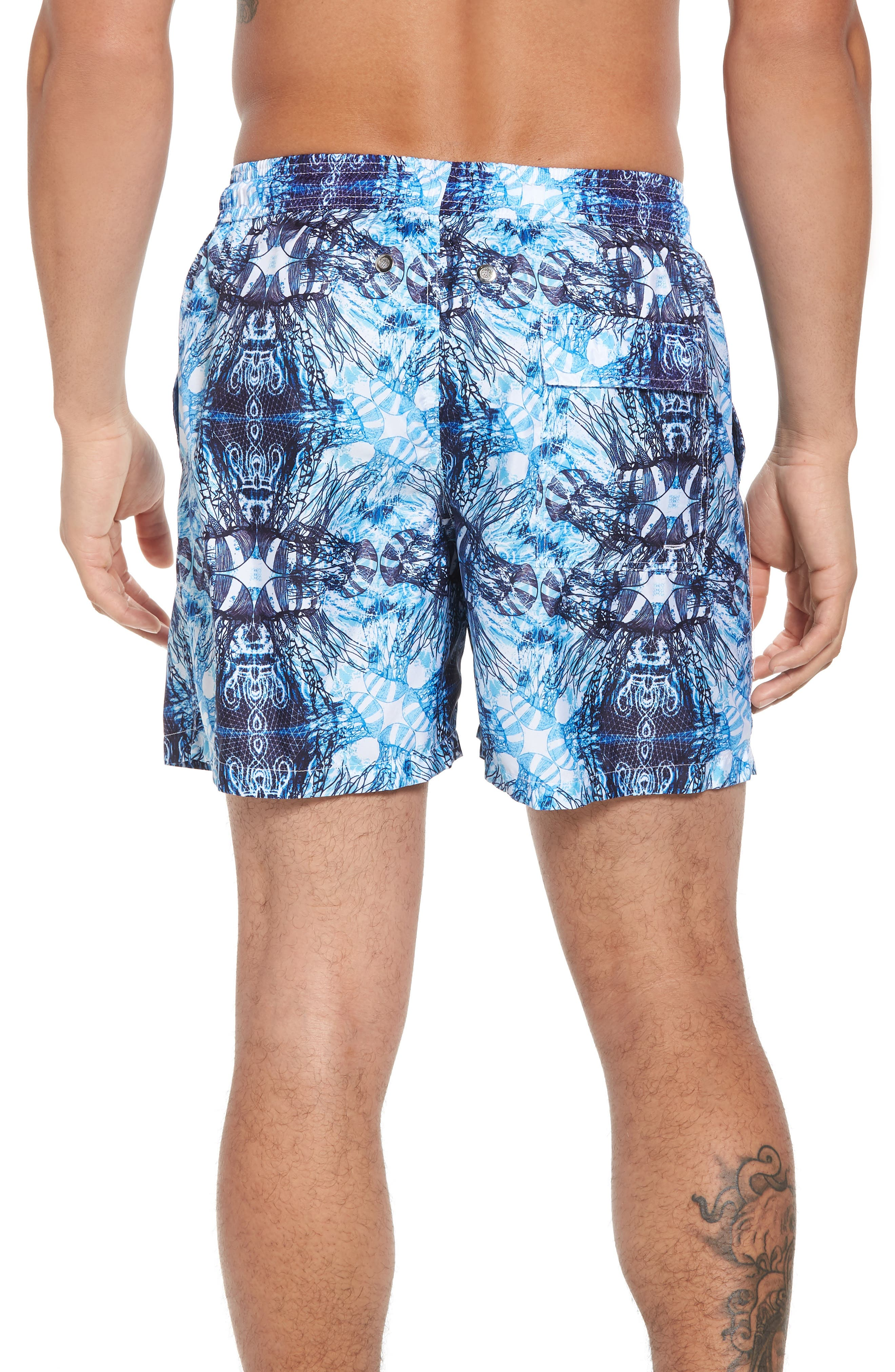 Trim Fit Swim Shorts,                             Alternate thumbnail 2, color,                             Light Blue Jelly Fish