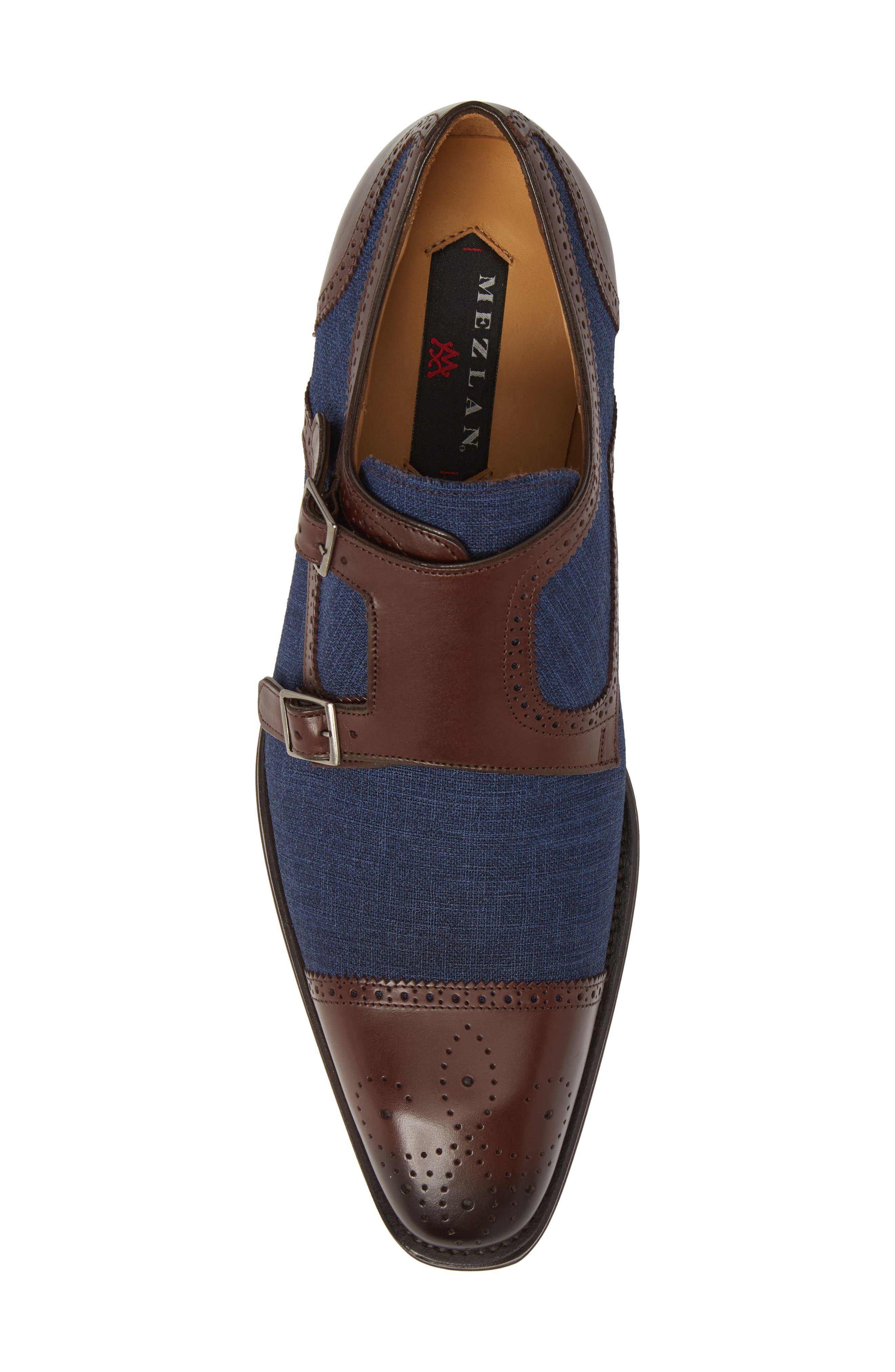 Cupido Double Monk Strap Cap Toe Shoe,                             Alternate thumbnail 5, color,                             Brown/ Blue Leather