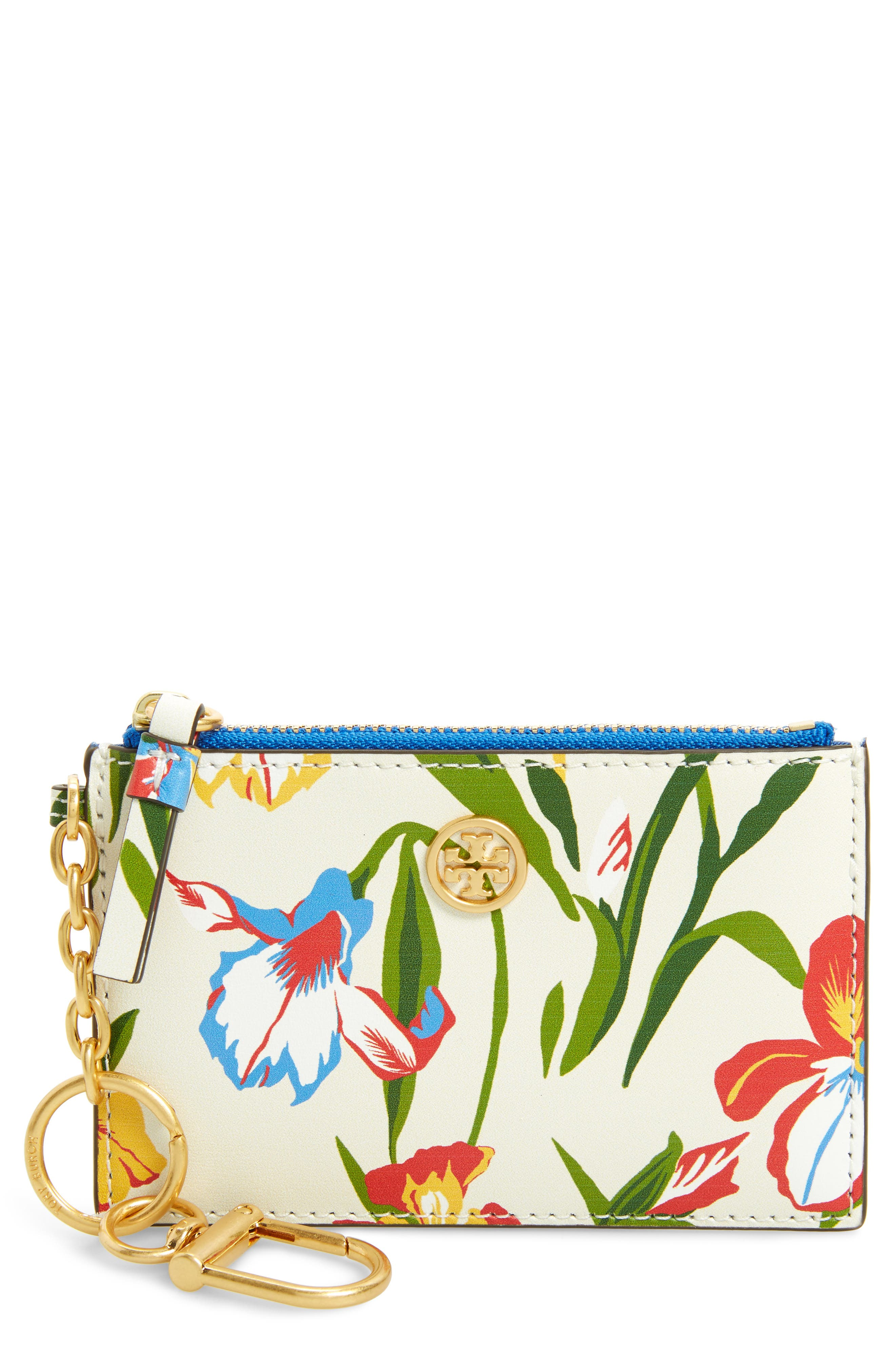 Robinson Iris Print Leather Card Case,                         Main,                         color, Painted Iris - Combo A