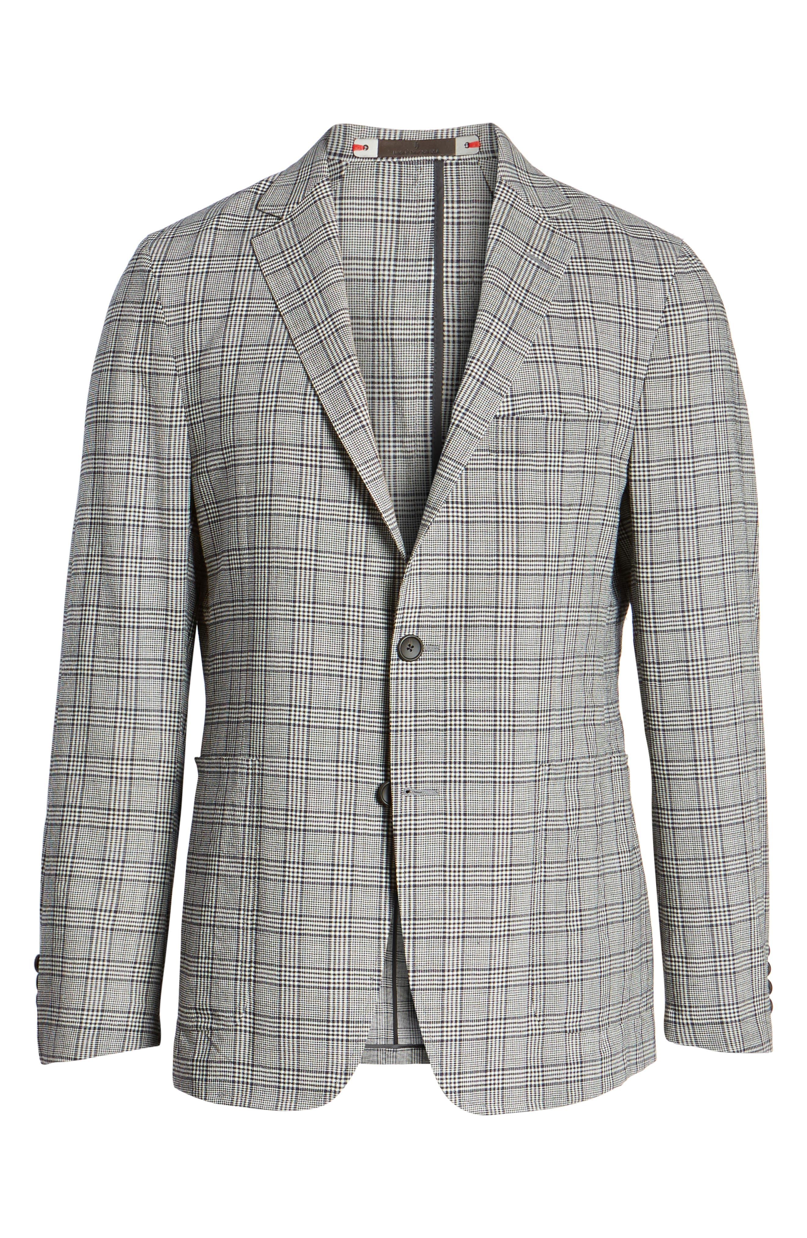 Modern Fit Plaid Wool Sport Coat,                             Alternate thumbnail 6, color,                             Black