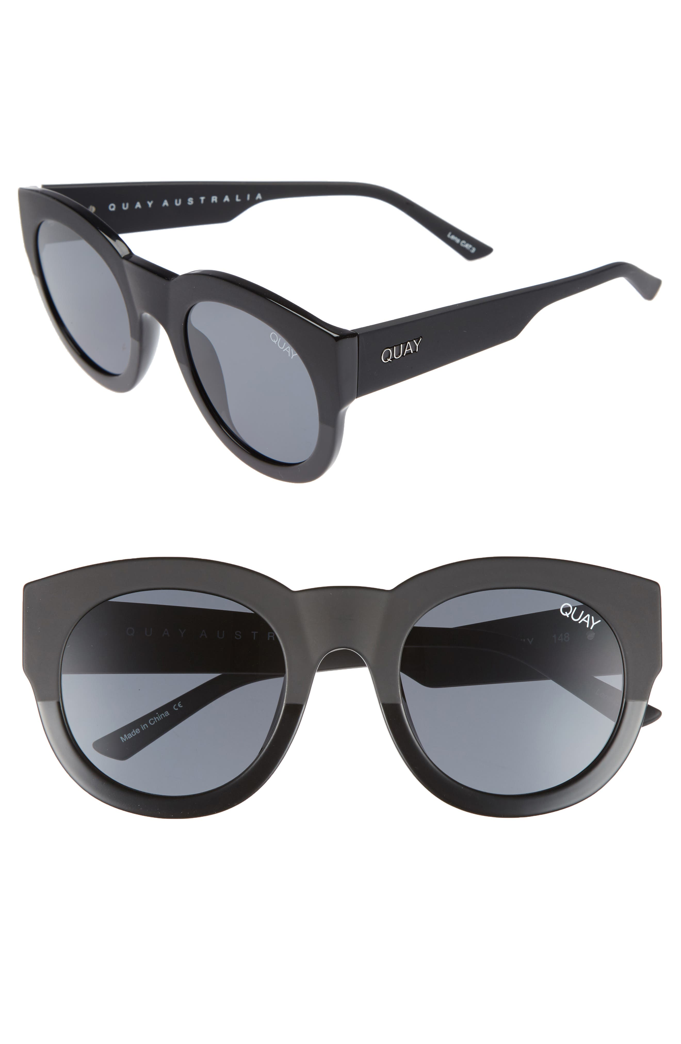 If Only 50mm Round Sunglasses,                             Main thumbnail 1, color,                             Black/ Smoke