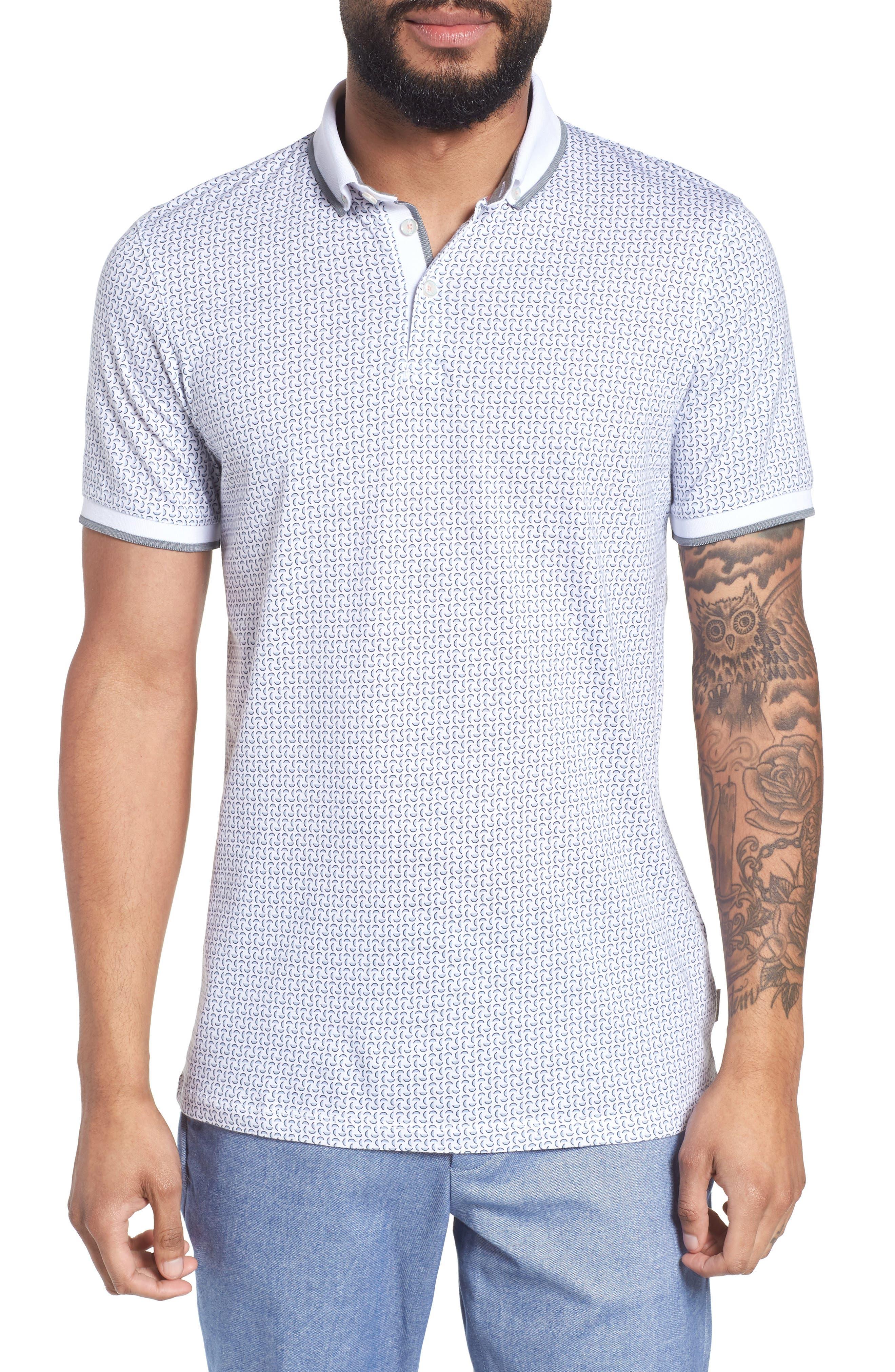 Aven Slim Fit Print Polo,                         Main,                         color, White