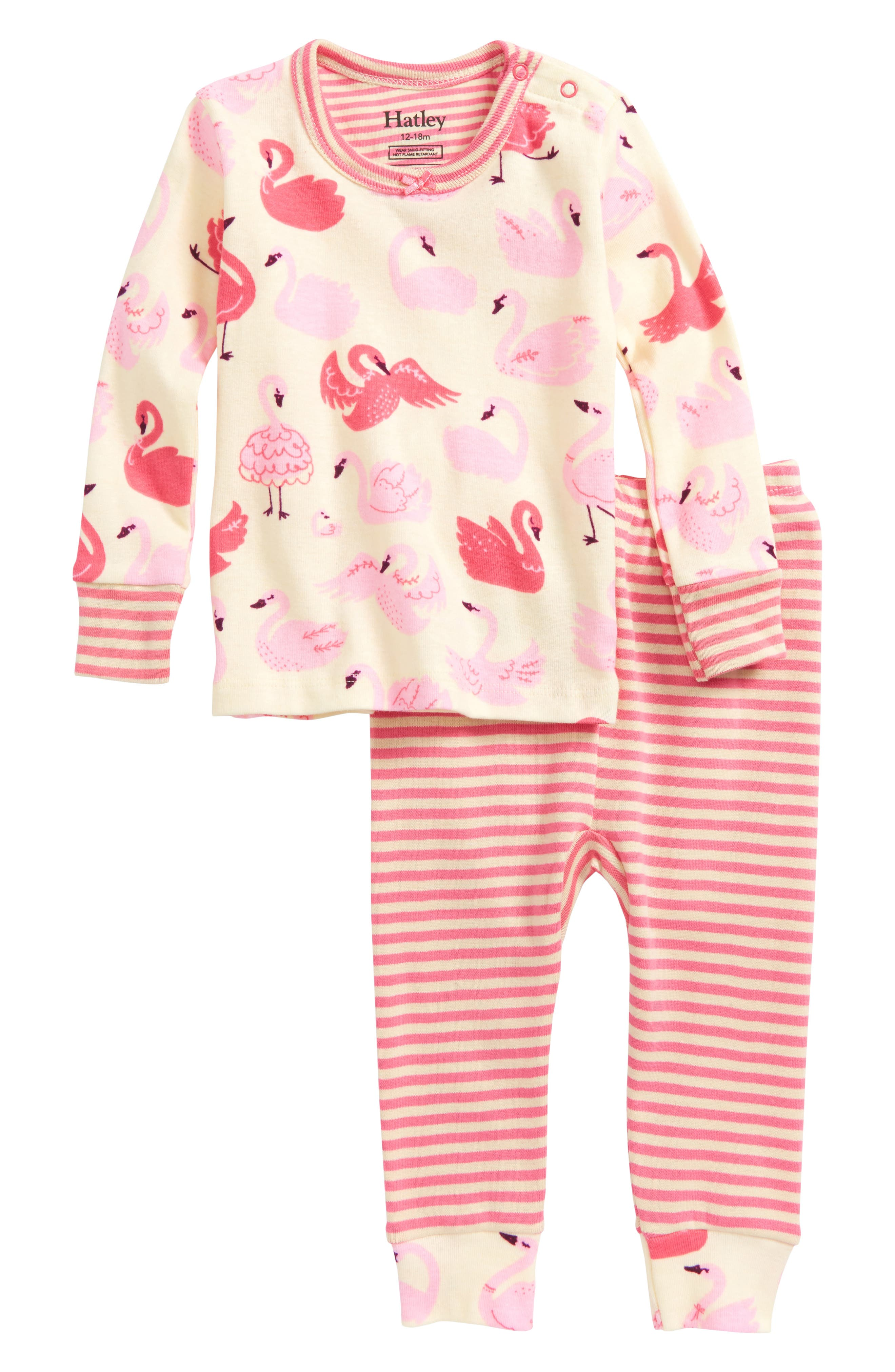 Hatley Swans Organic Cotton Fitted Two-Piece Pajamas (Baby Girls)