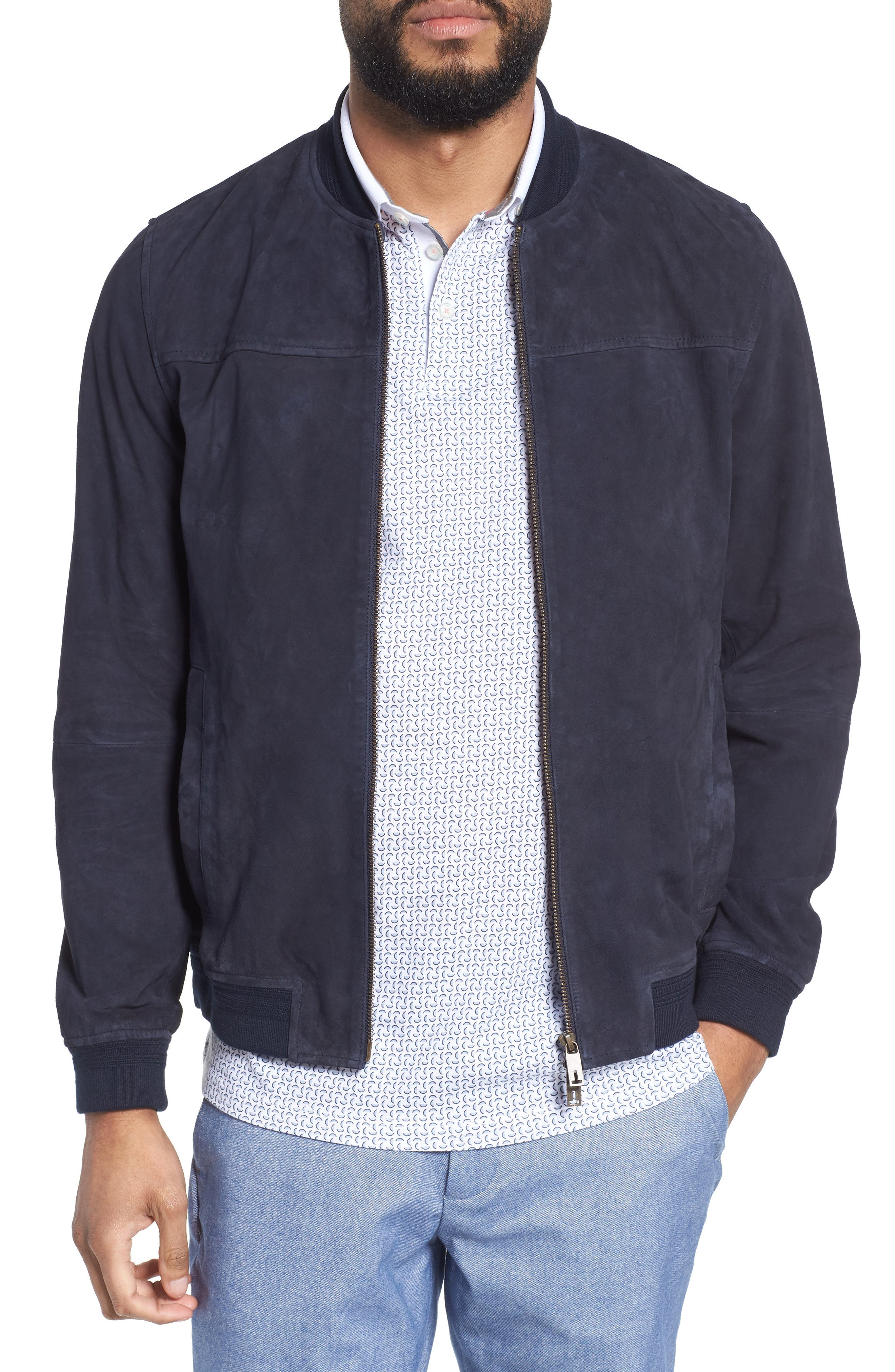 Alibi Trim Fit Suede Bomber Jacket,                         Main,                         color, Navy