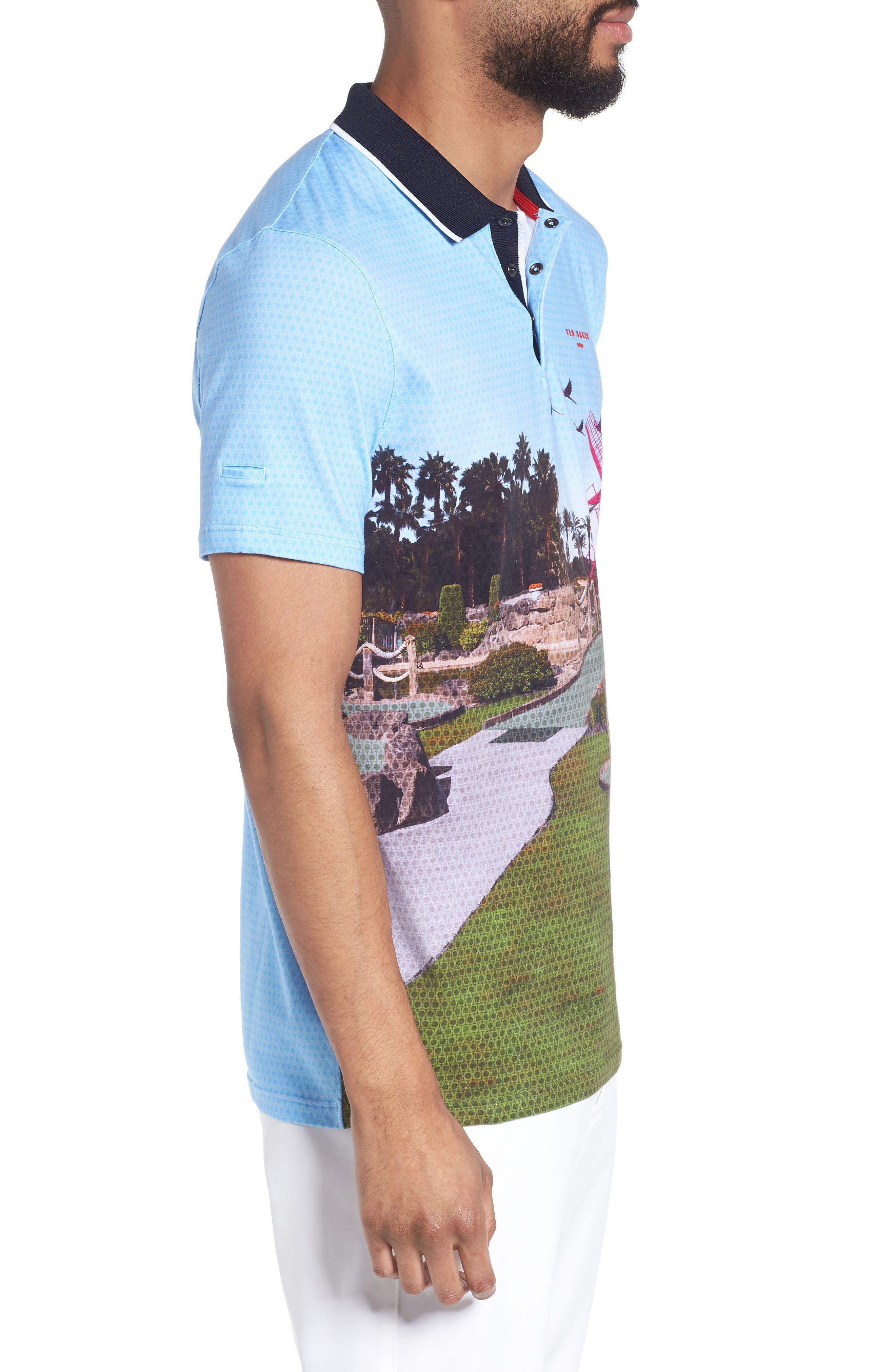 Placement Trim Fit Golf Polo,                             Alternate thumbnail 3, color,                             Blue