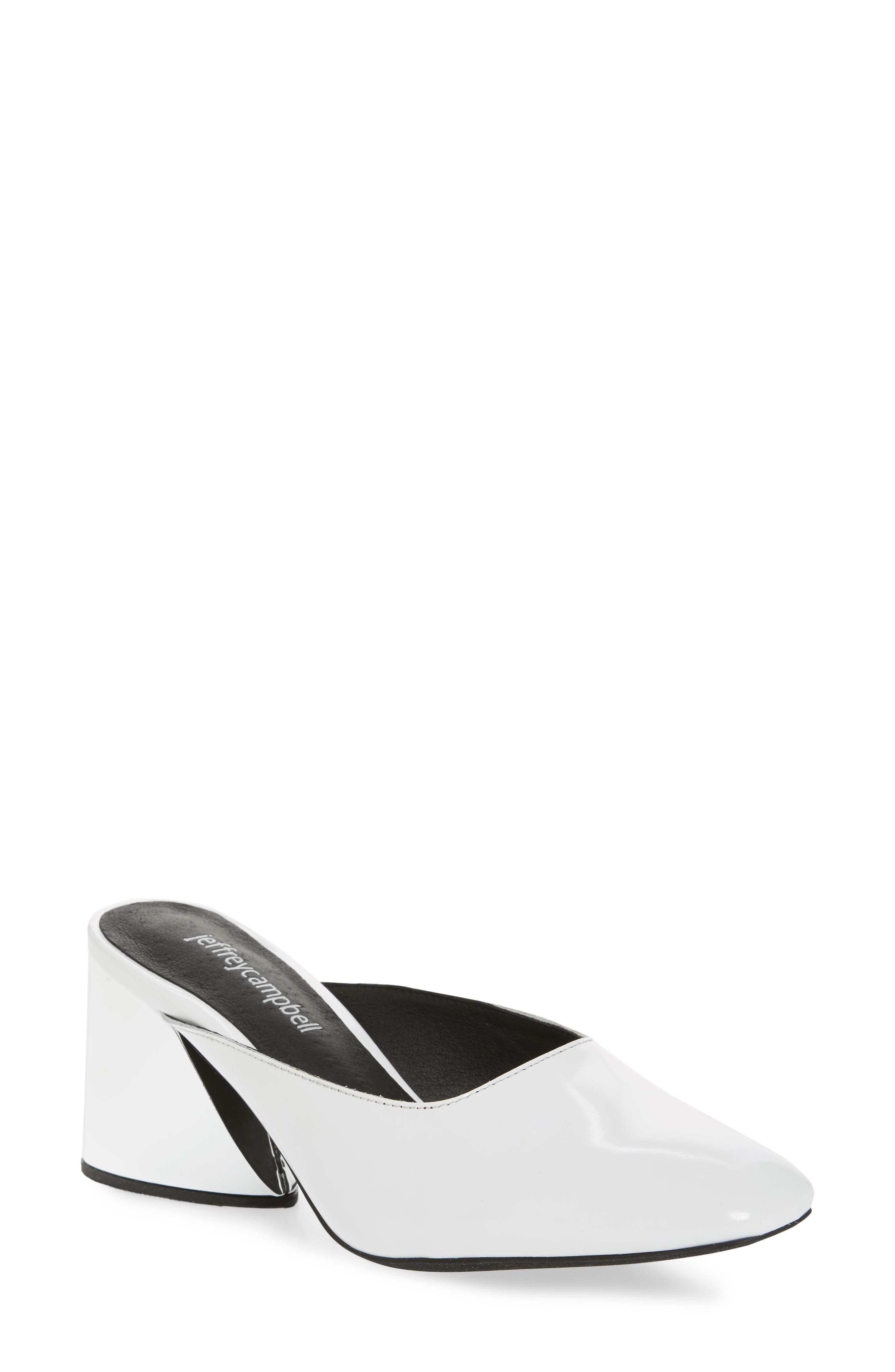 Lamer Flared Heel Mule,                             Main thumbnail 1, color,                             White/ Silver Leather