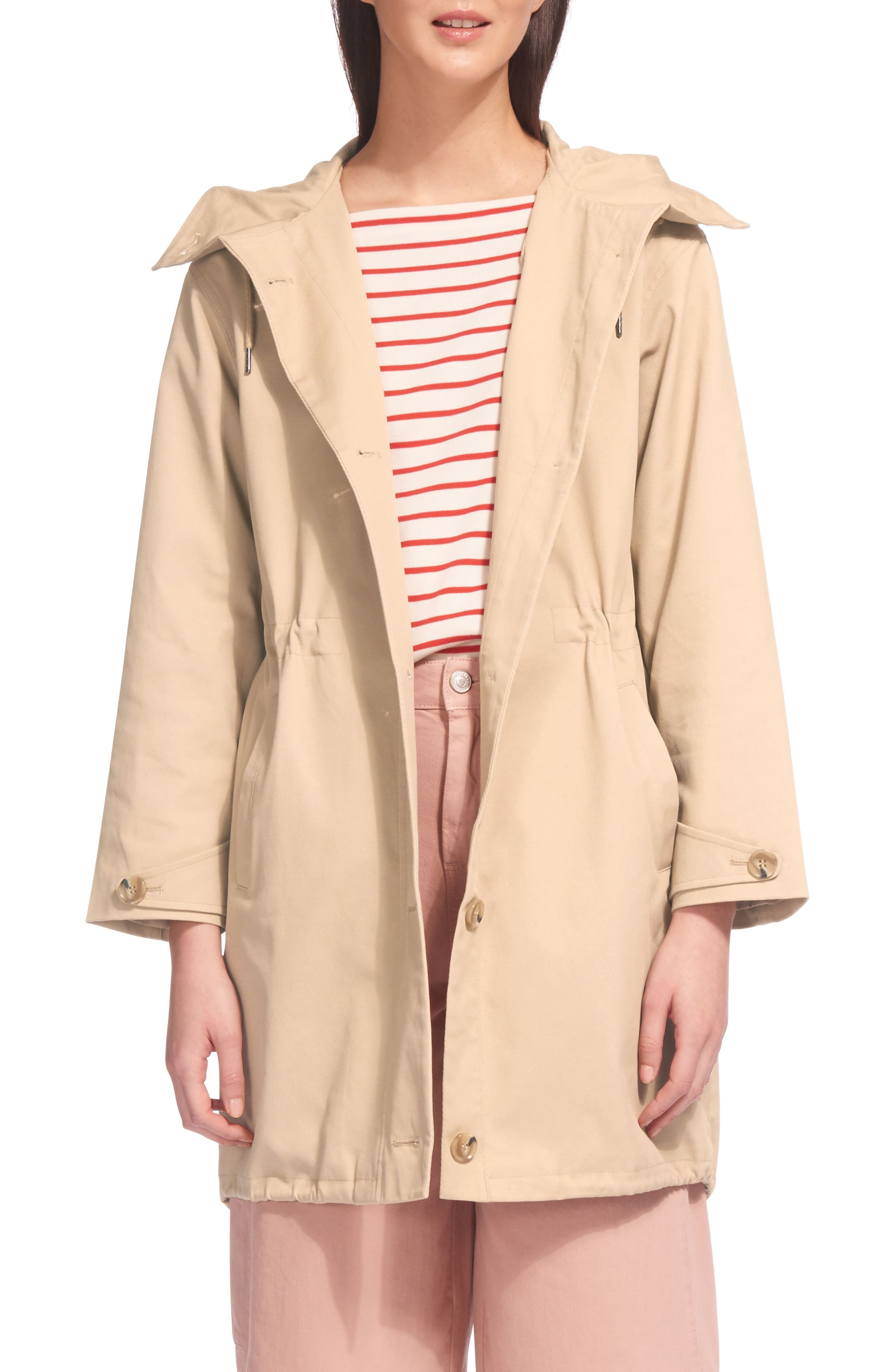 Hooded Spring Parka,                             Main thumbnail 1, color,                             Beige