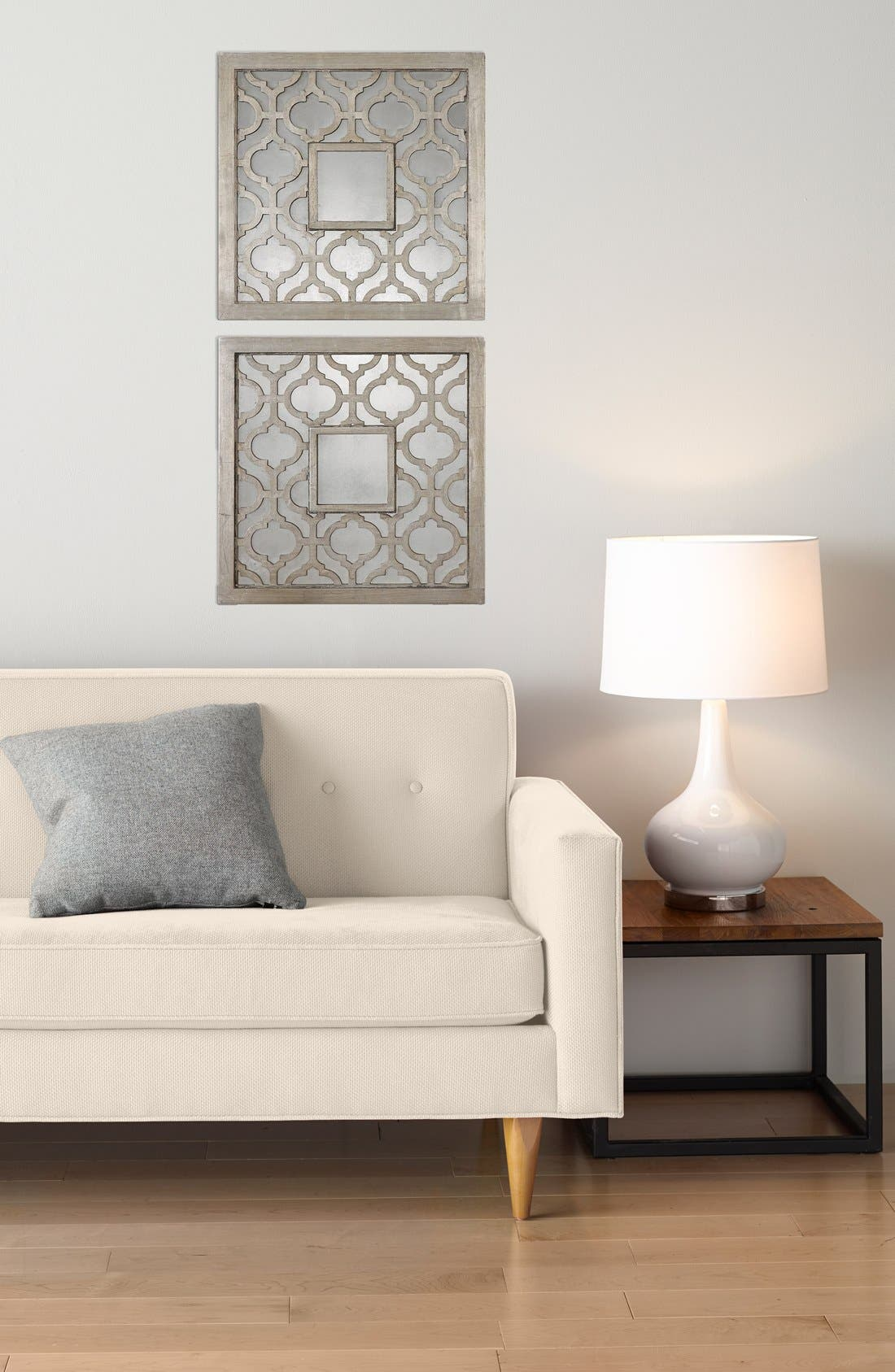'Sorbolo' Silver Leaf Square Mirror,                             Alternate thumbnail 2, color,                             Silver