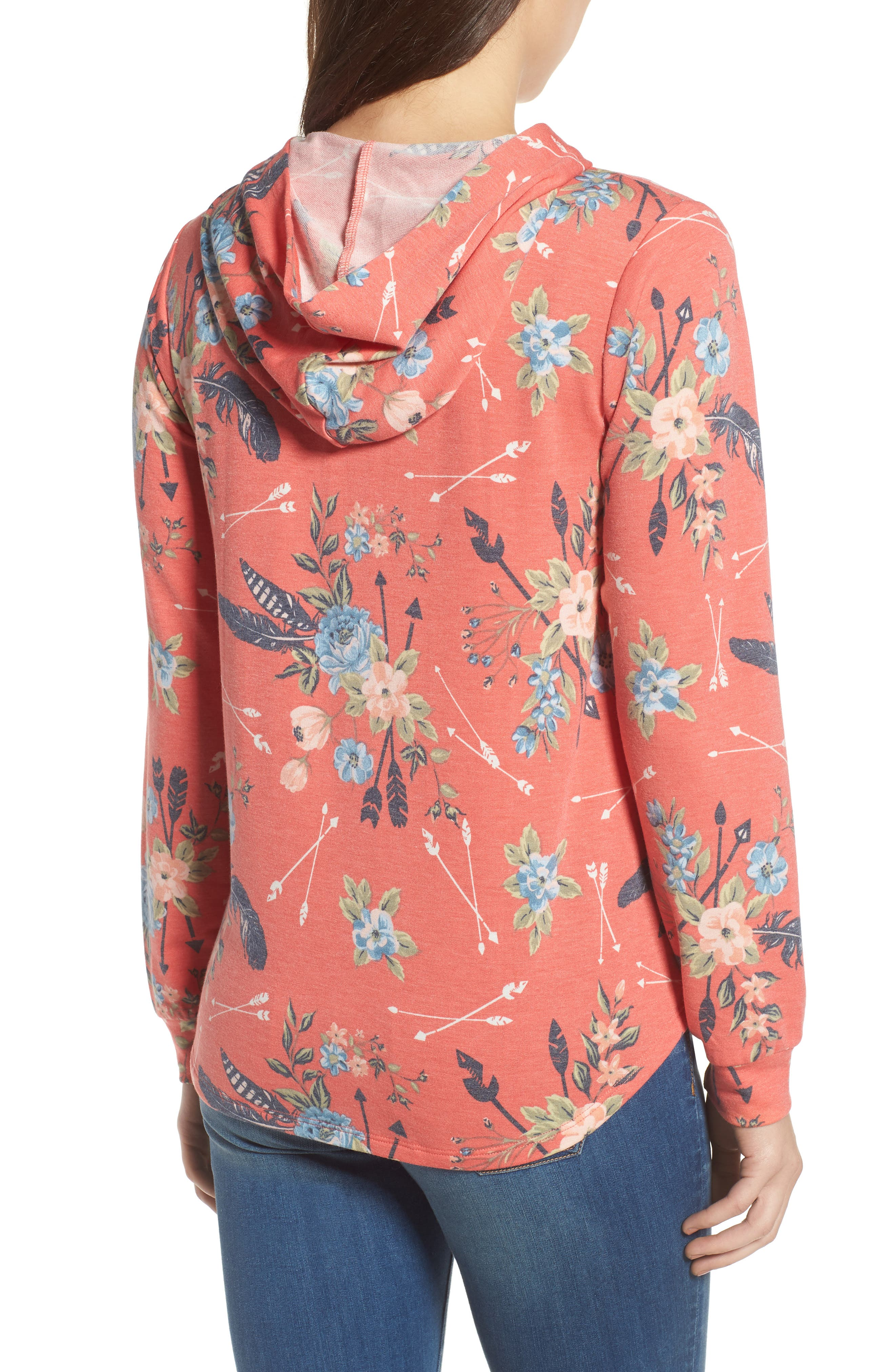 Printed Hoodie Sweatshirt,                             Alternate thumbnail 2, color,                             Coral Poppy