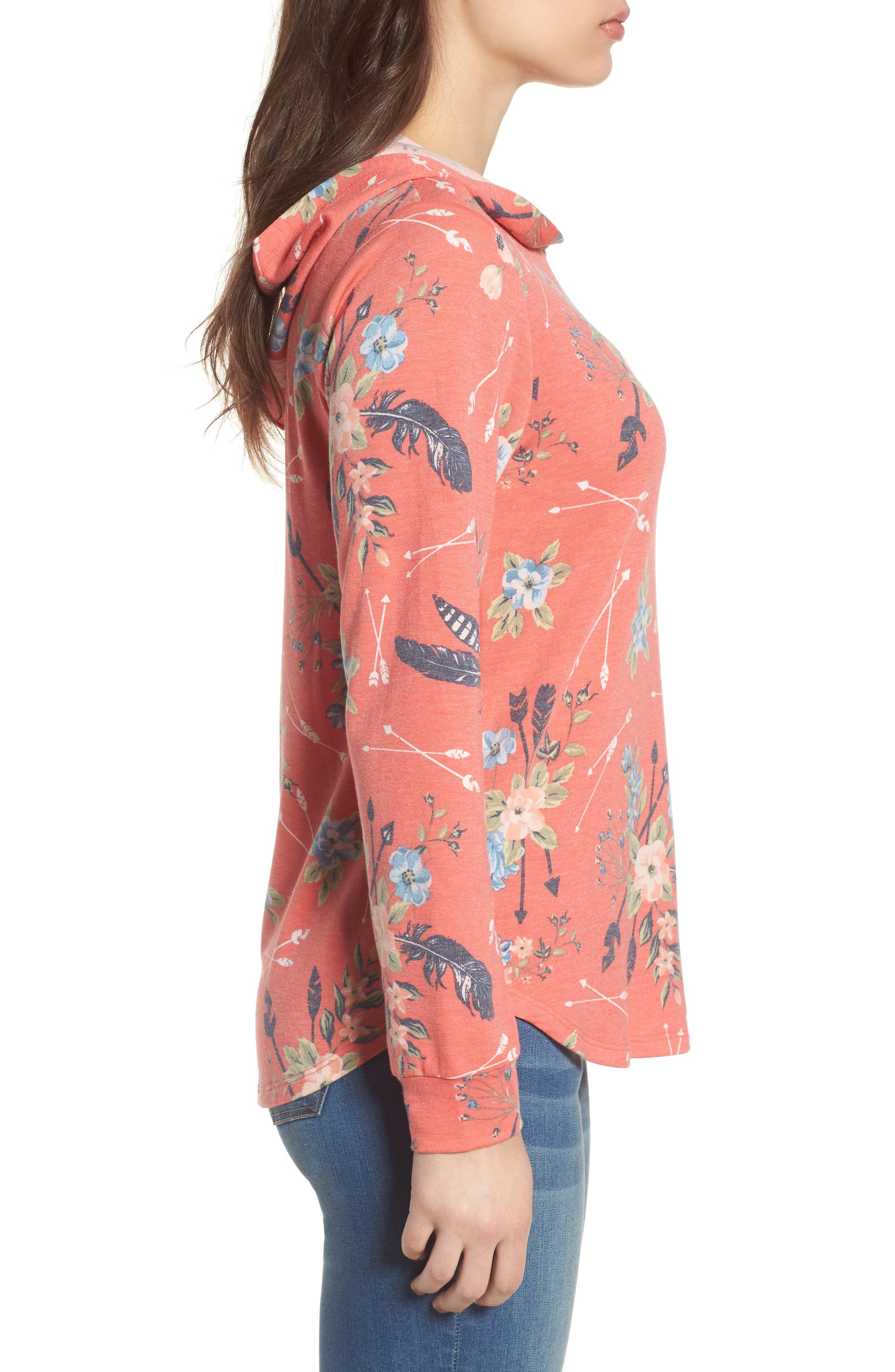 Printed Hoodie Sweatshirt,                             Alternate thumbnail 3, color,                             Coral Poppy