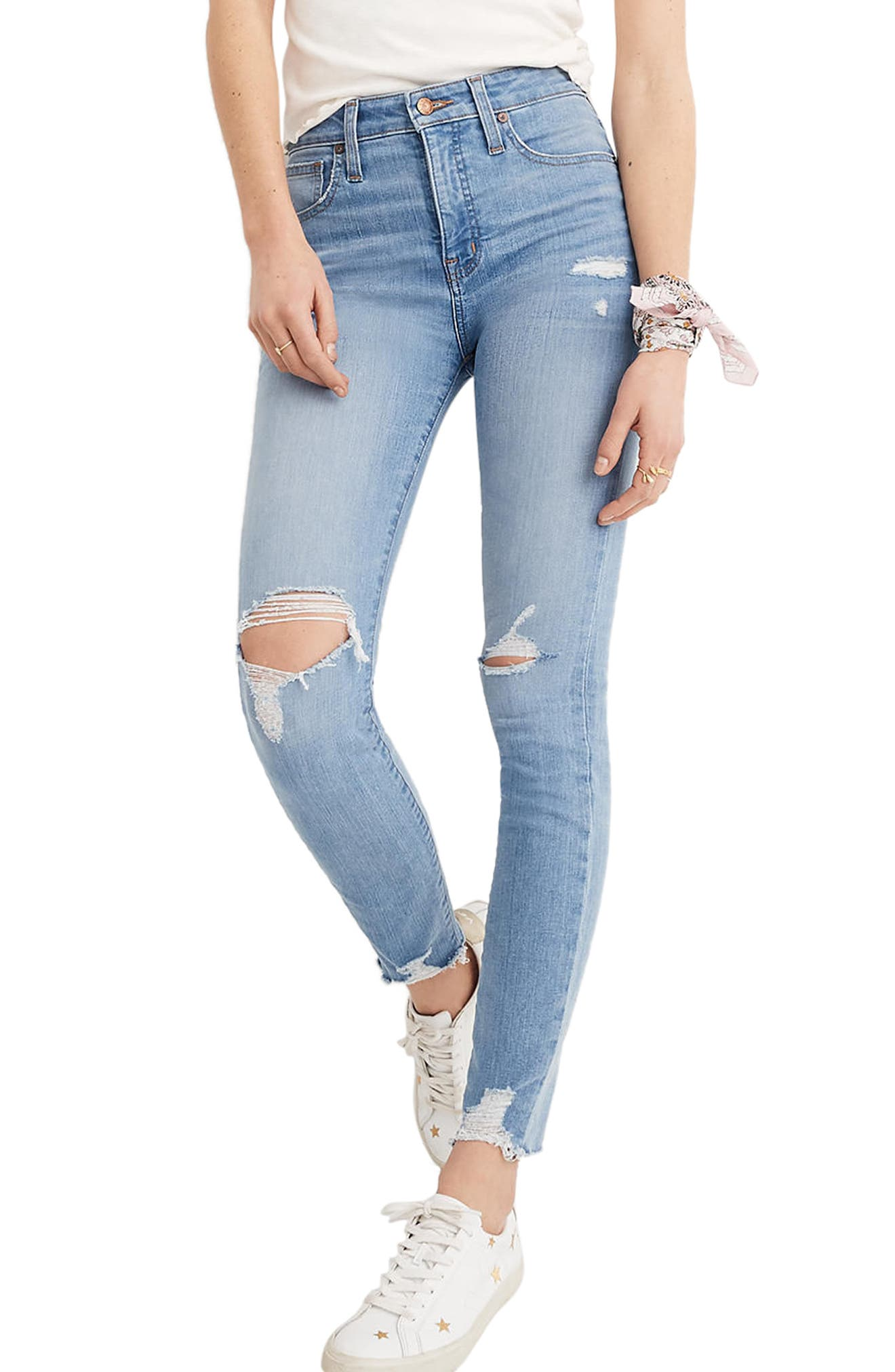 Curvy High Waist Distressed Hem Skinny Jeans,                             Main thumbnail 1, color,                             Ontario Wash
