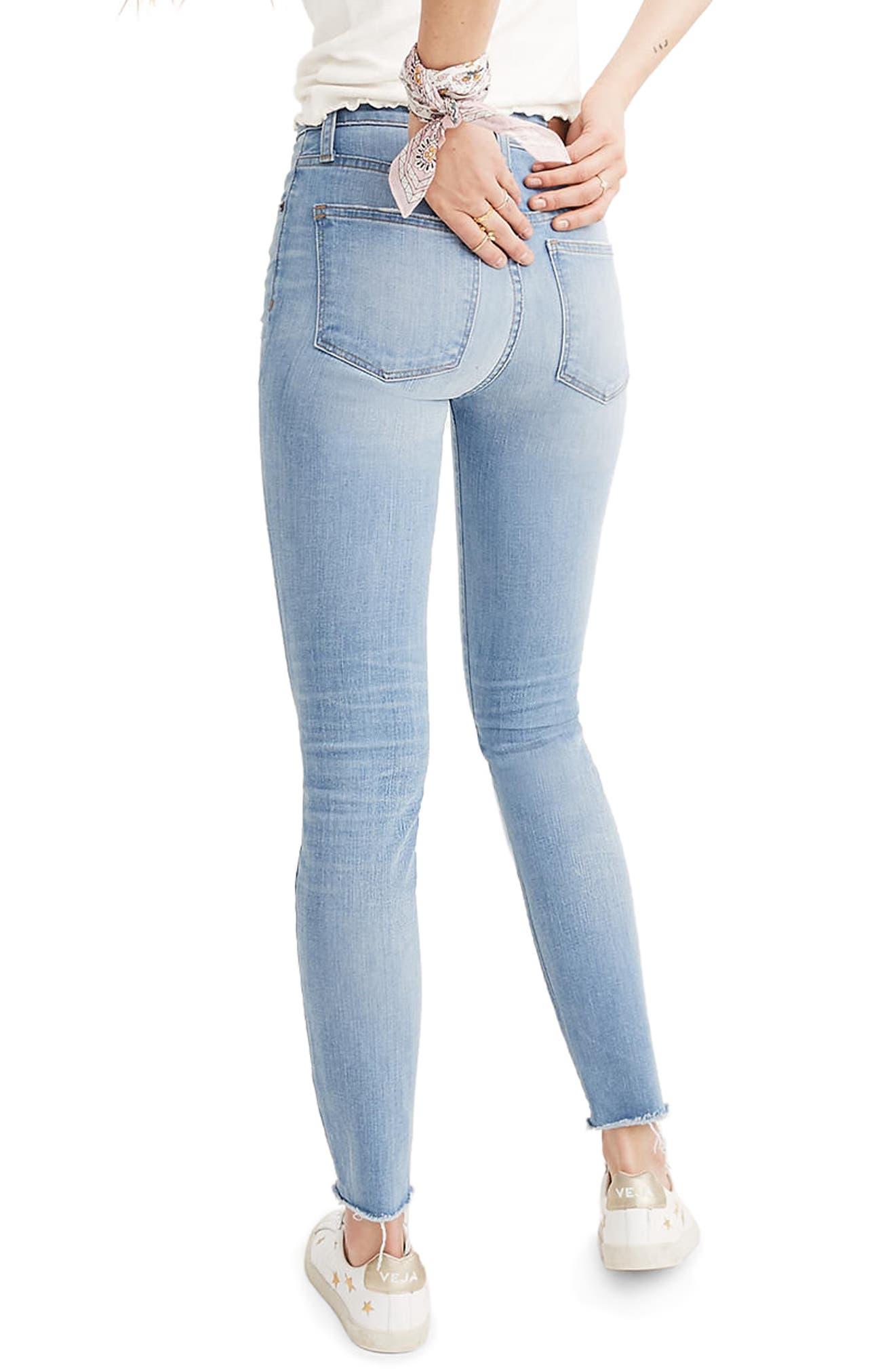 Curvy High Waist Distressed Hem Skinny Jeans,                             Alternate thumbnail 2, color,                             Ontario Wash