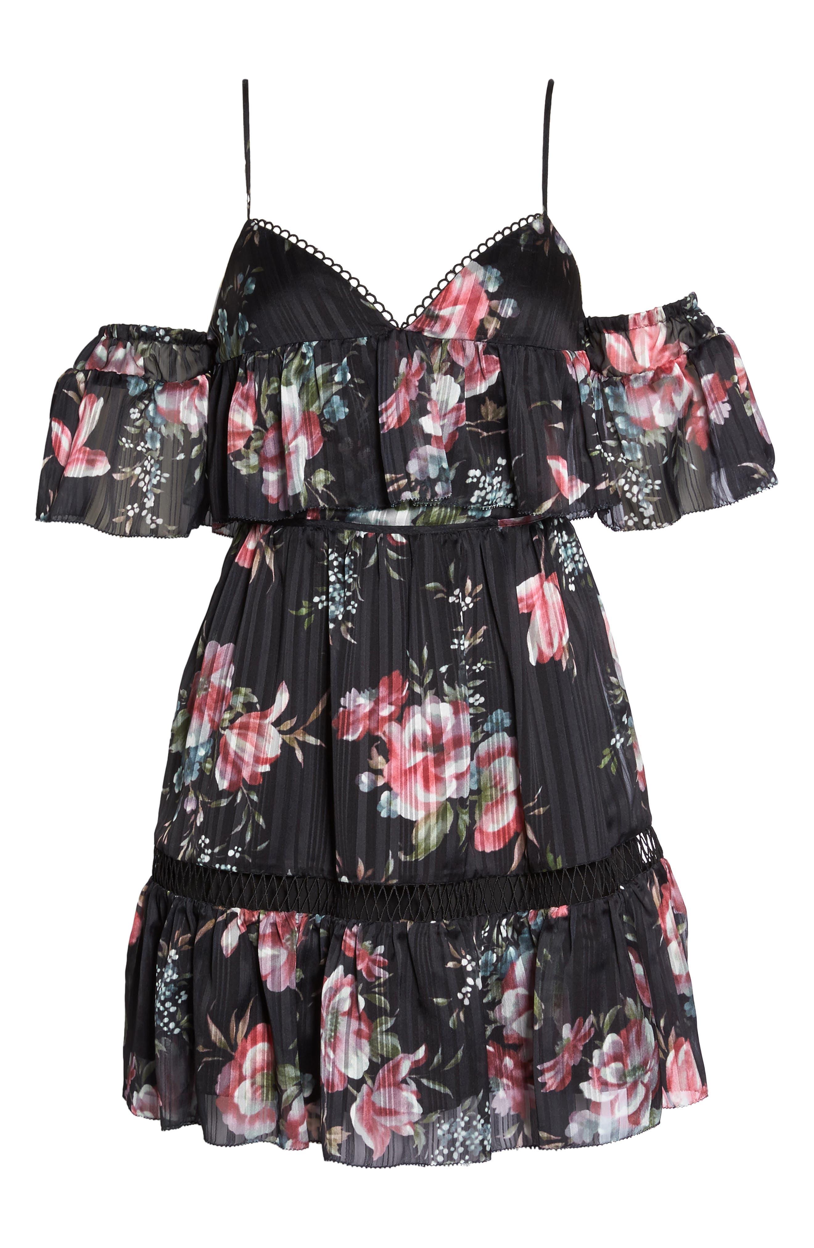 Belonging Floral Cold Shoulder Minidress,                             Alternate thumbnail 6, color,                             Dark Floral Print