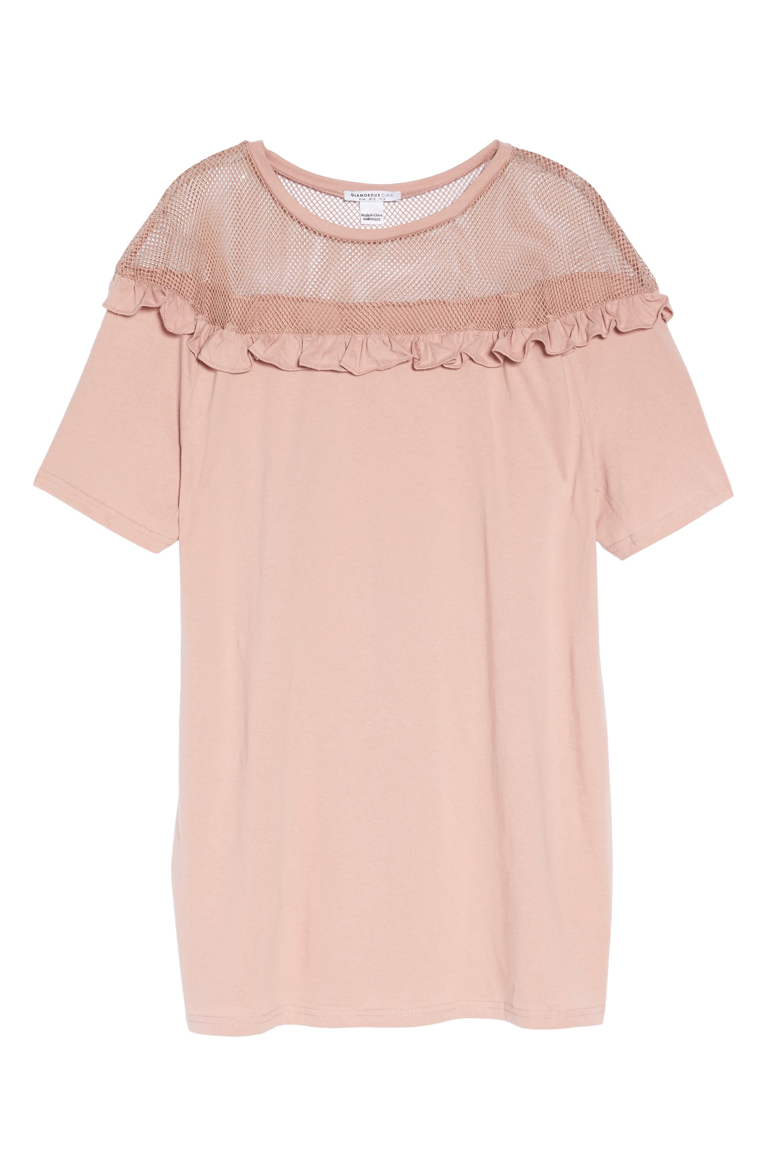 Illusion Neck Shift Dress,                             Alternate thumbnail 6, color,                             Dusty Pink