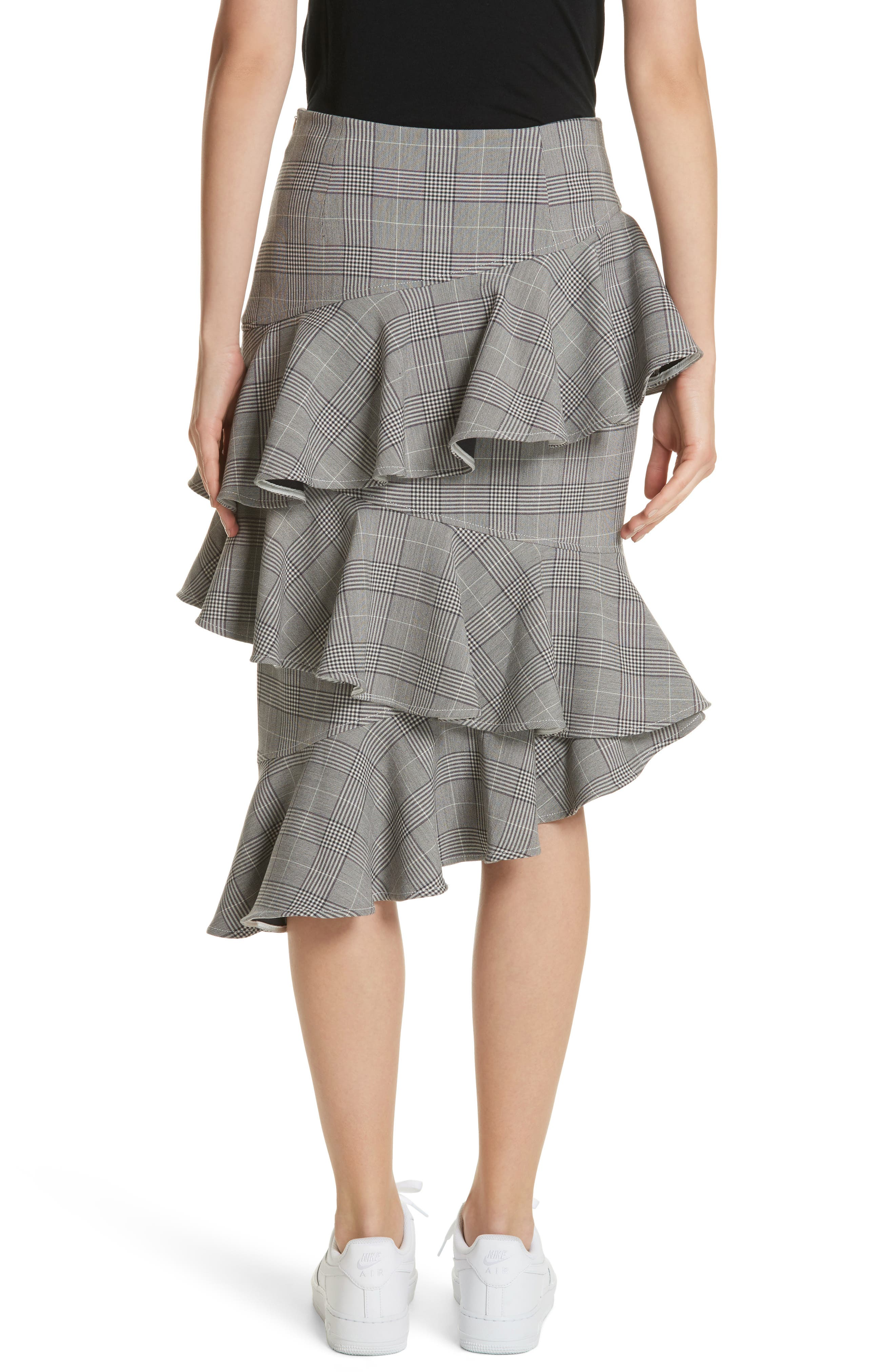 Garvey Plaid Ruffle Tier Skirt,                             Alternate thumbnail 2, color,                             Paloma Melange