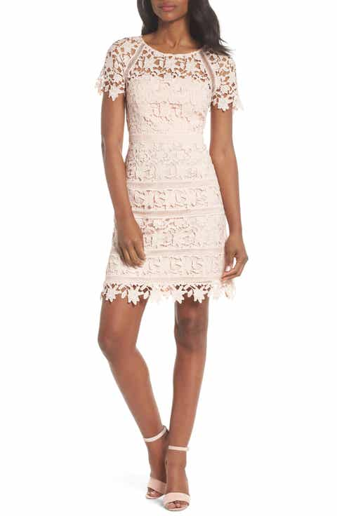 Eliza J Crochet Overlay Dress Regular Pee