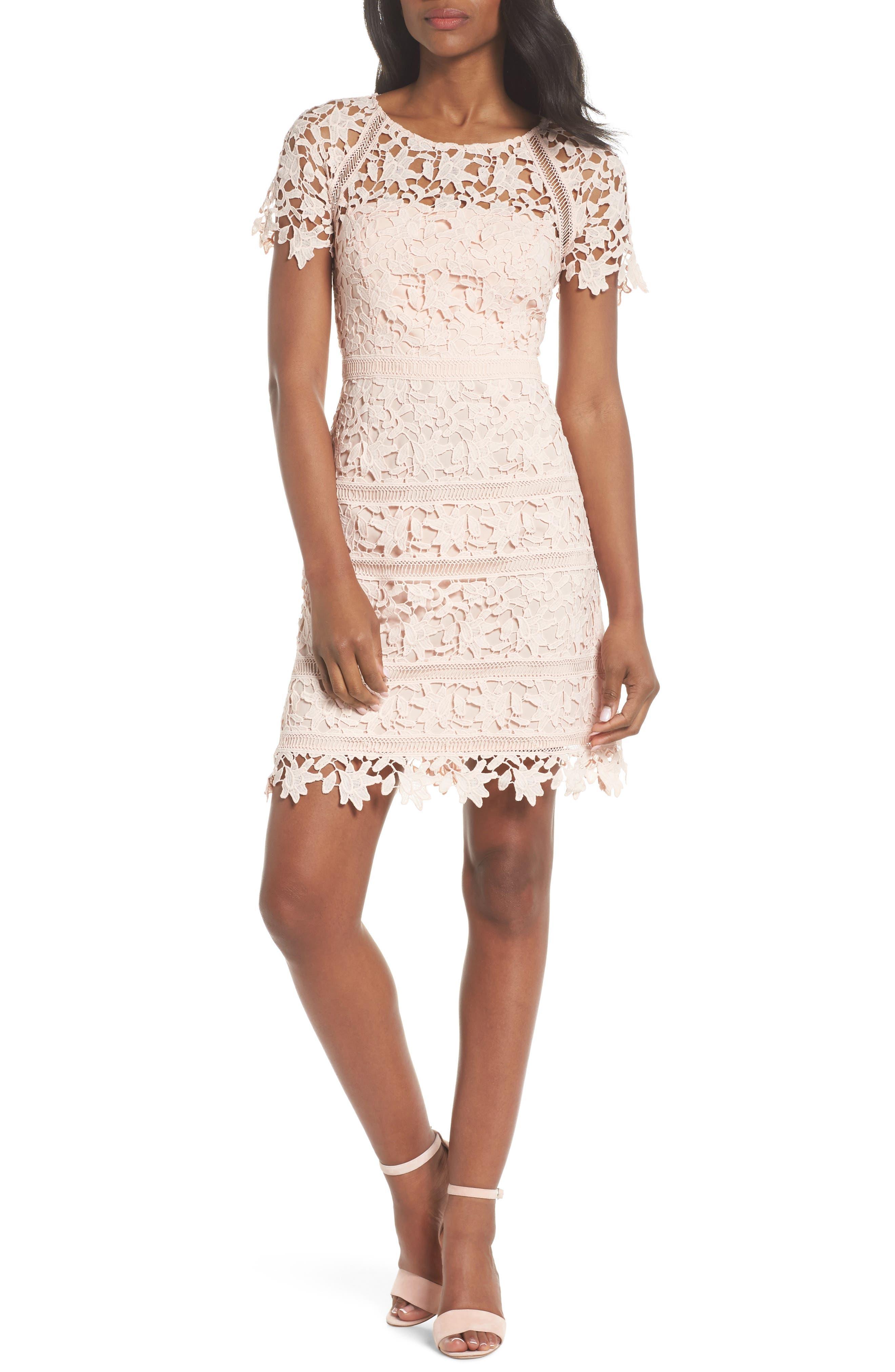 Eliza J Crochet Overlay Dress (Regular U0026 Petite)