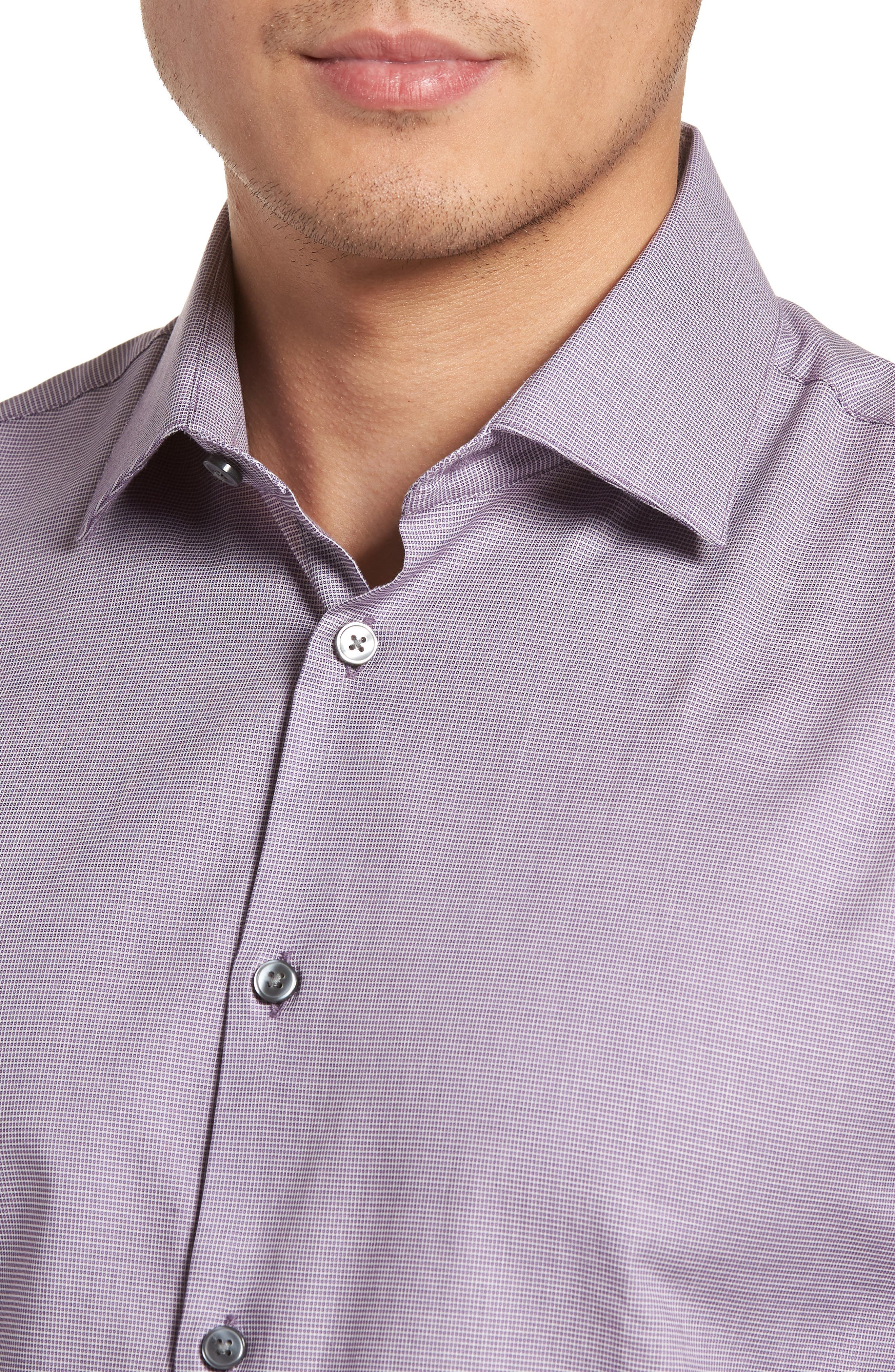 Slim Fit Stretch Microdot Dress Shirt,                             Alternate thumbnail 2, color,                             Purple