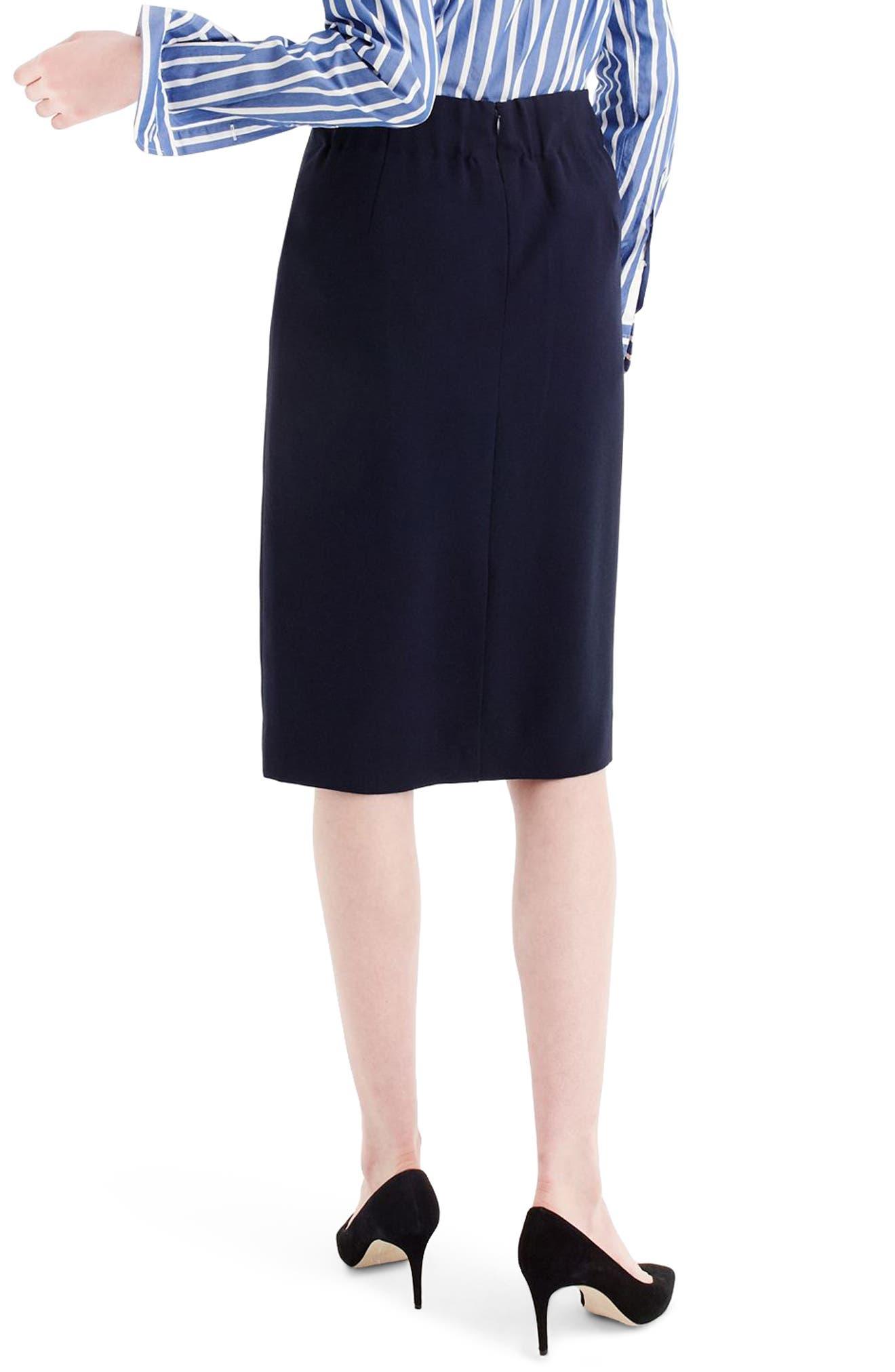 J.Crew 365 Crepe Ruffle Pencil Skirt,                             Alternate thumbnail 2, color,                             Navy