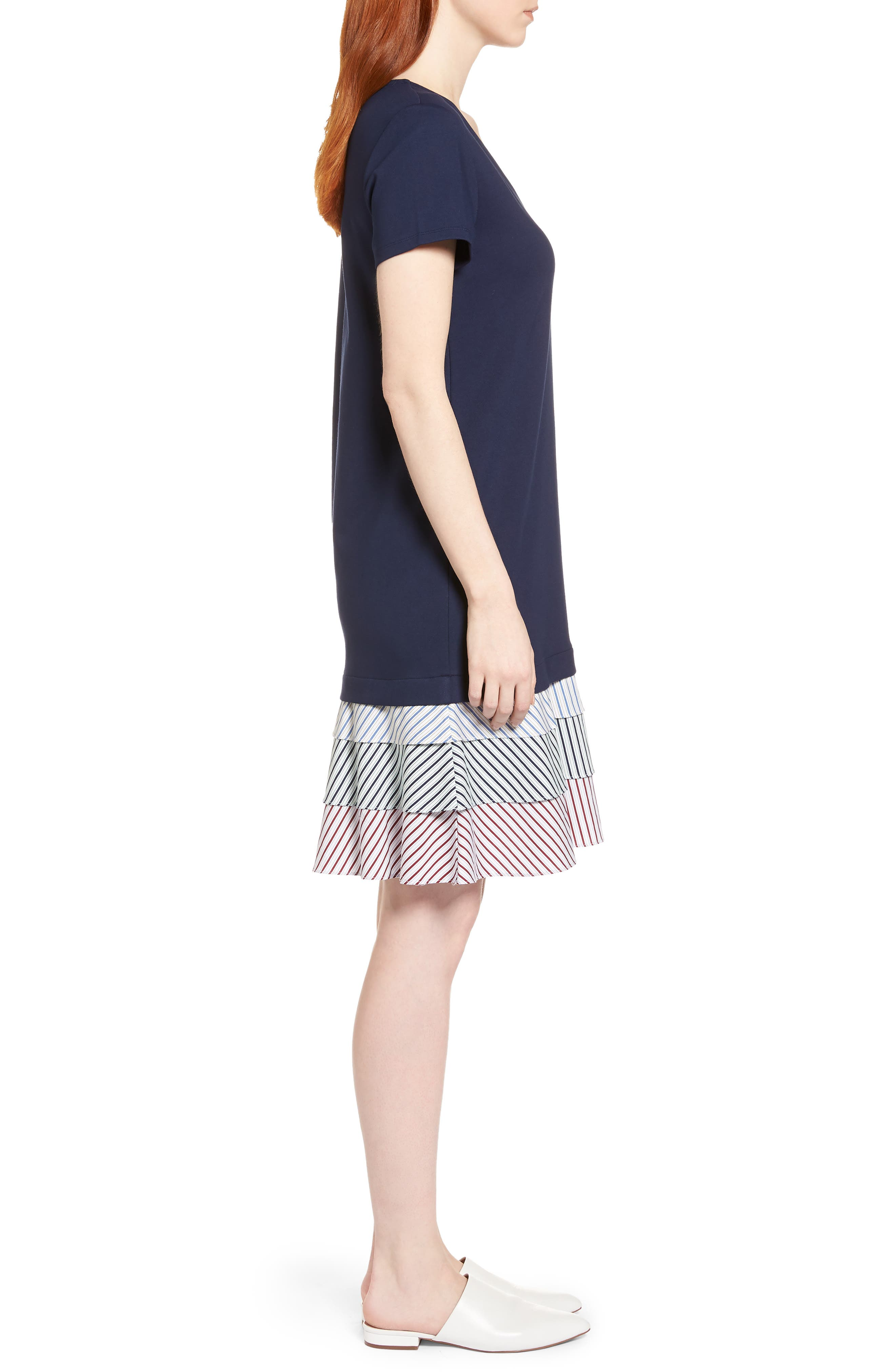 Ruffle Hem Knit Dress,                             Alternate thumbnail 3, color,                             Navy Peacoat