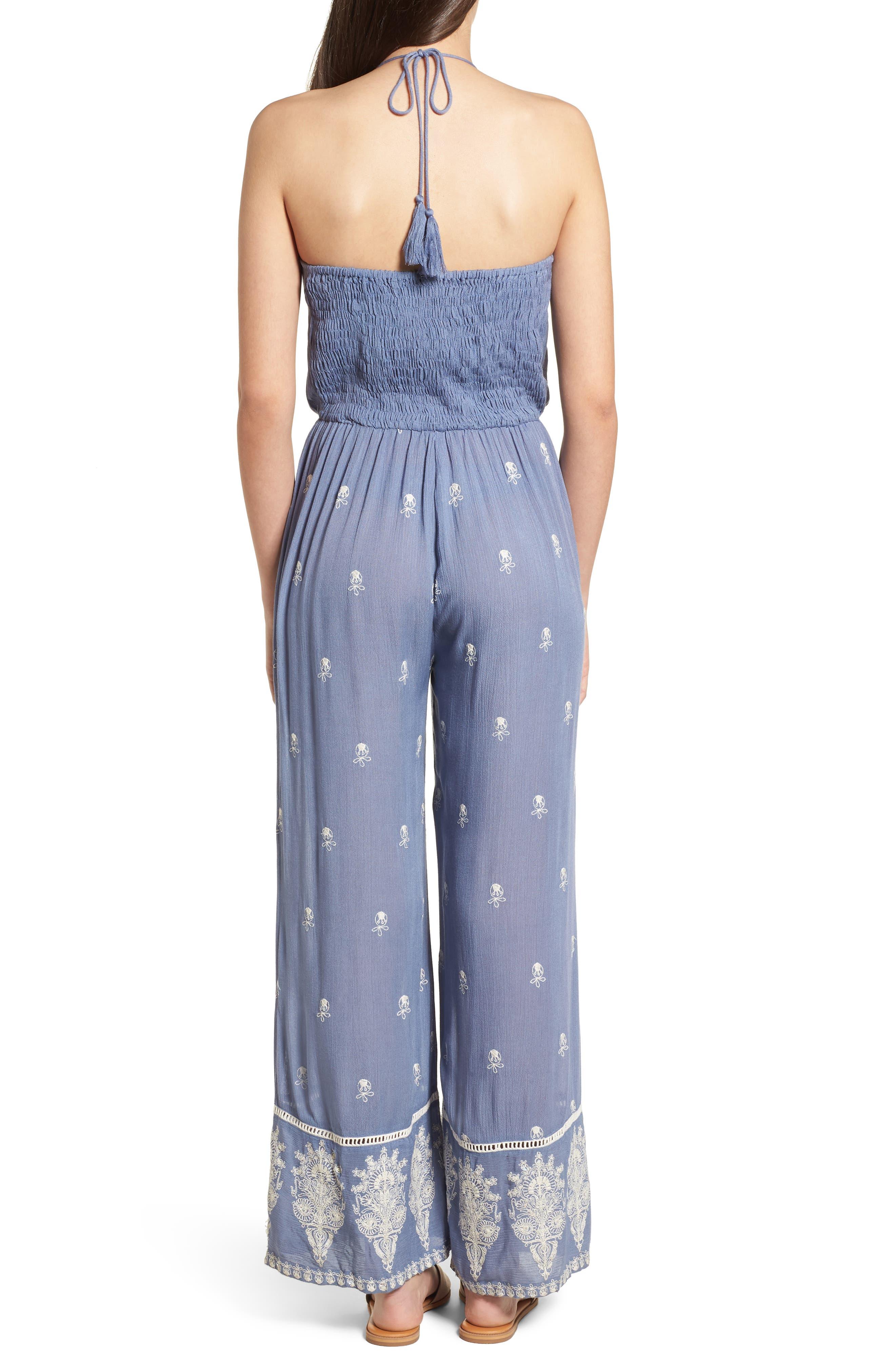 Alternate Image 3  - Raga Alissa Embroidered Halter Neck Jumpsuit