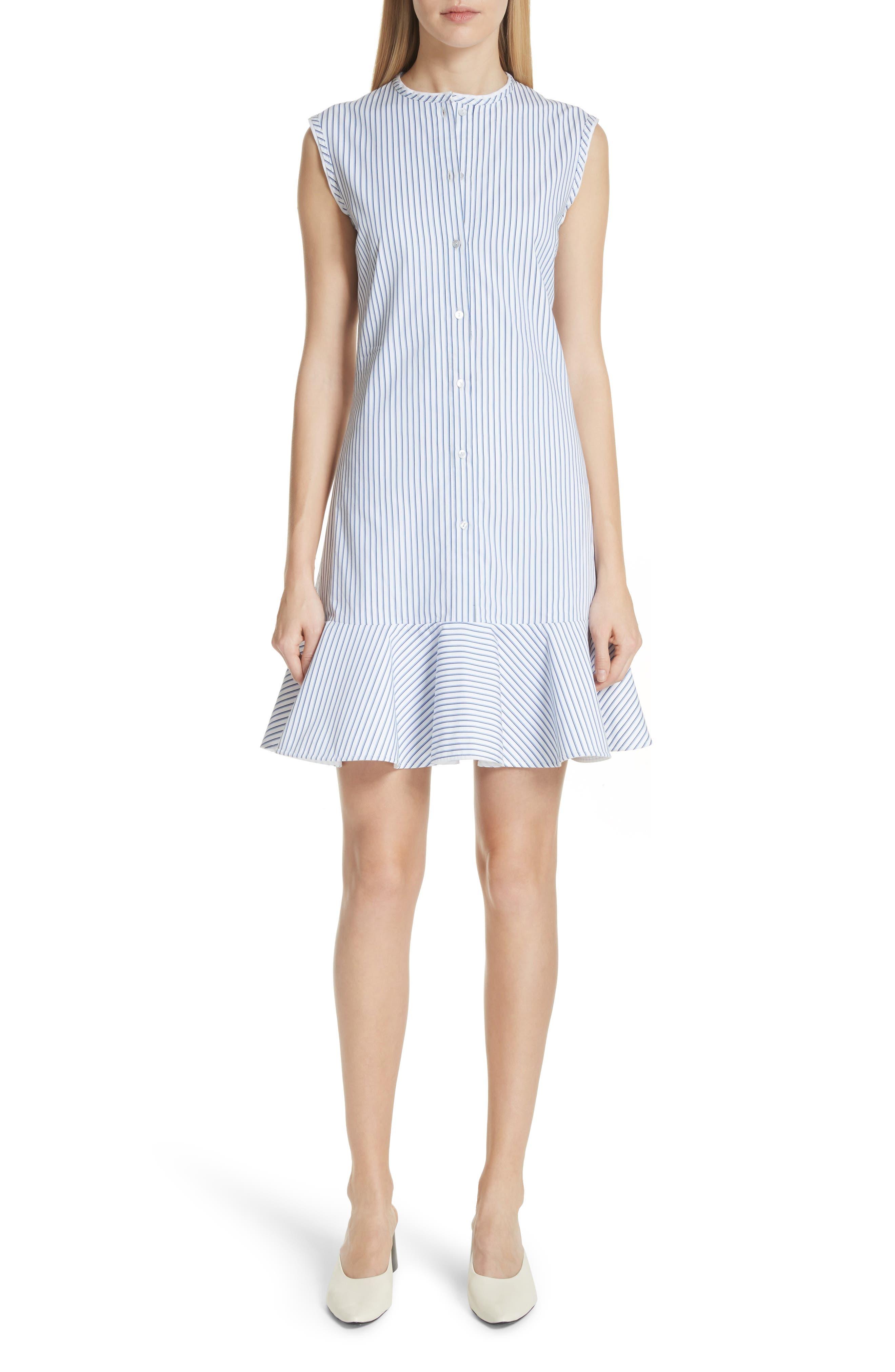 Victoria, Victoria Beckham Stripe Cotton Flounce Hem Dress
