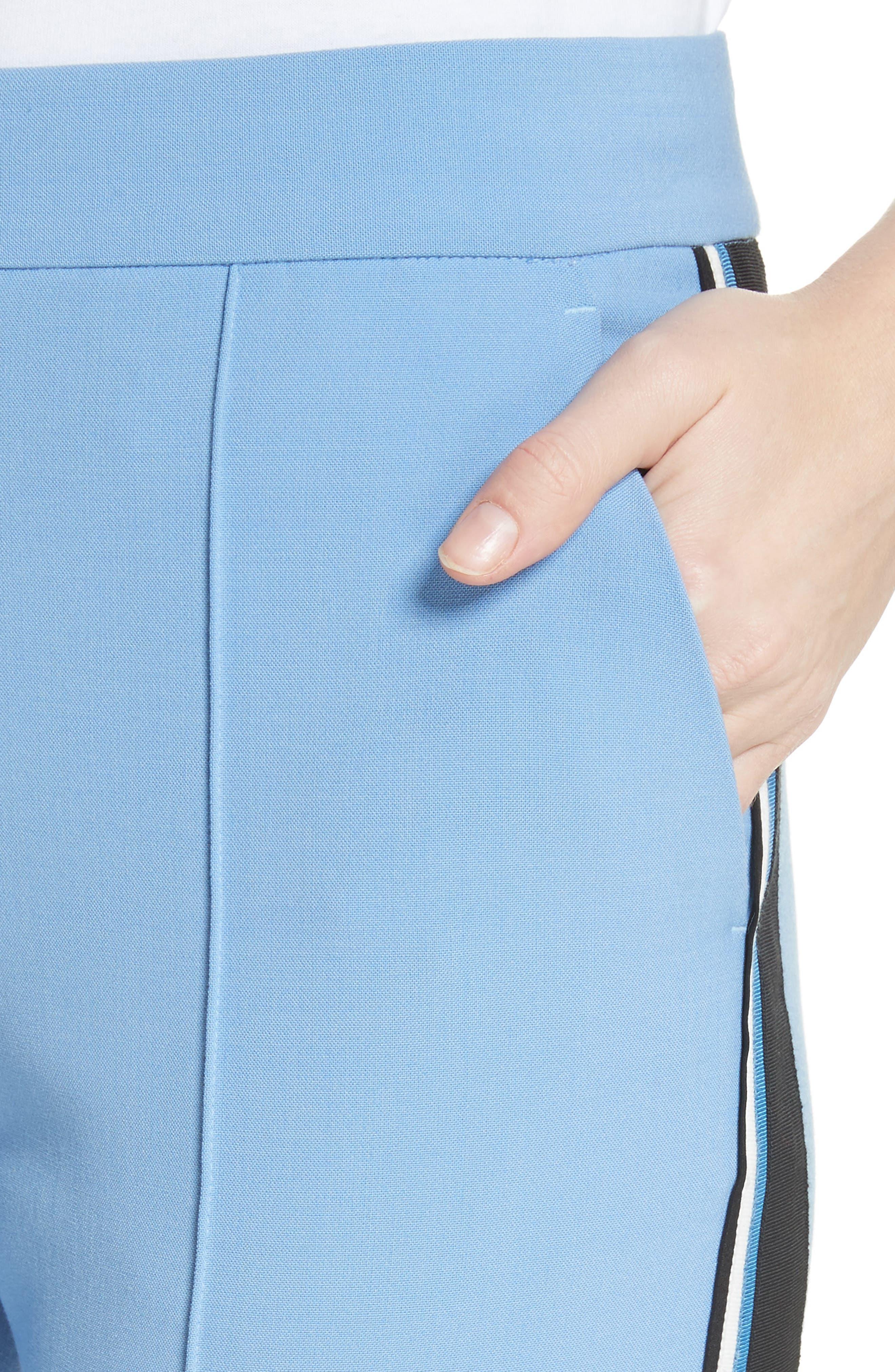Stripe Split Hem Pants,                             Alternate thumbnail 4, color,                             Lagoon Blue