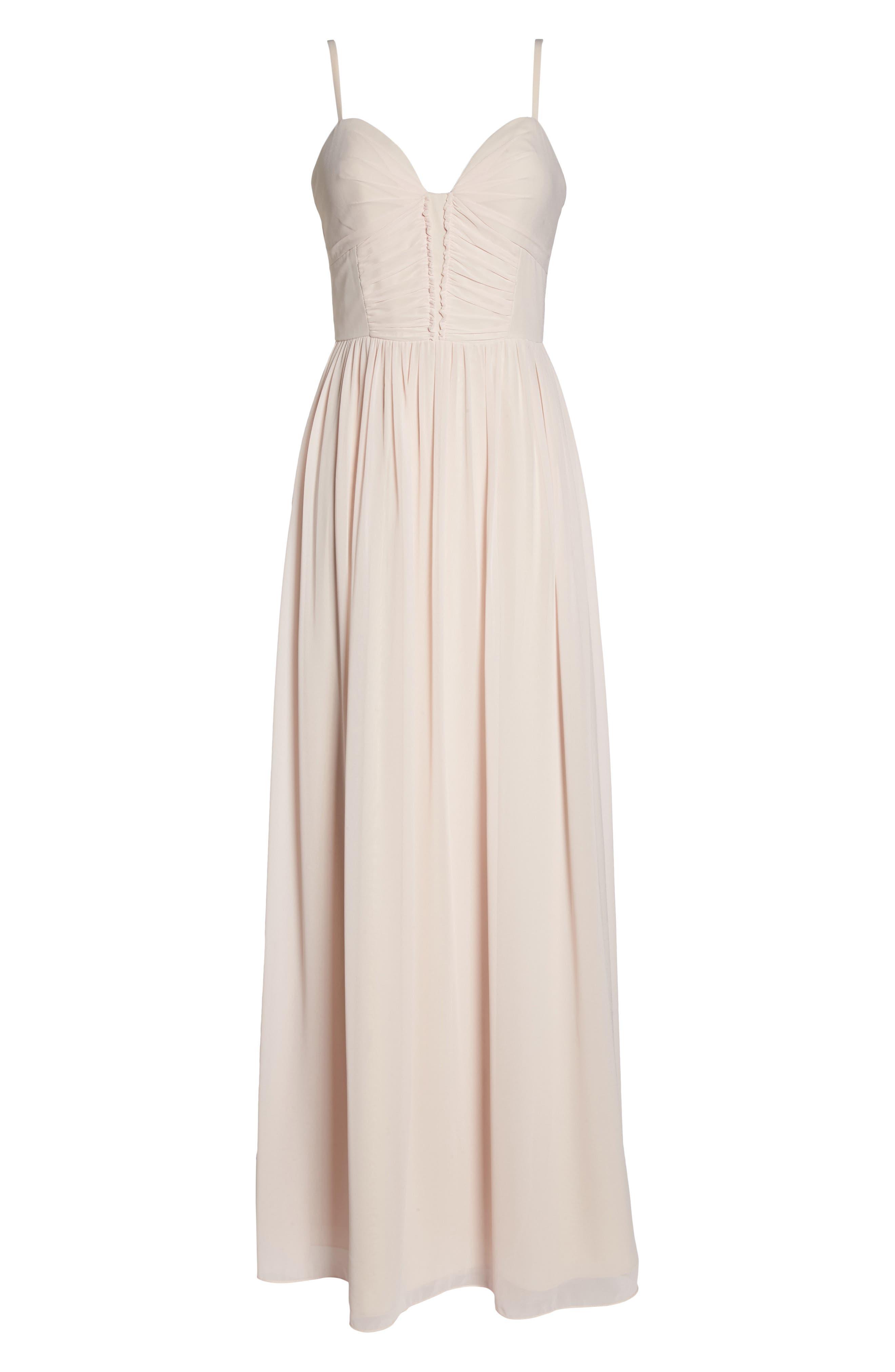 Ruffle Detail A-Line Chiffon Gown,                             Alternate thumbnail 6, color,                             Blush Cashmere