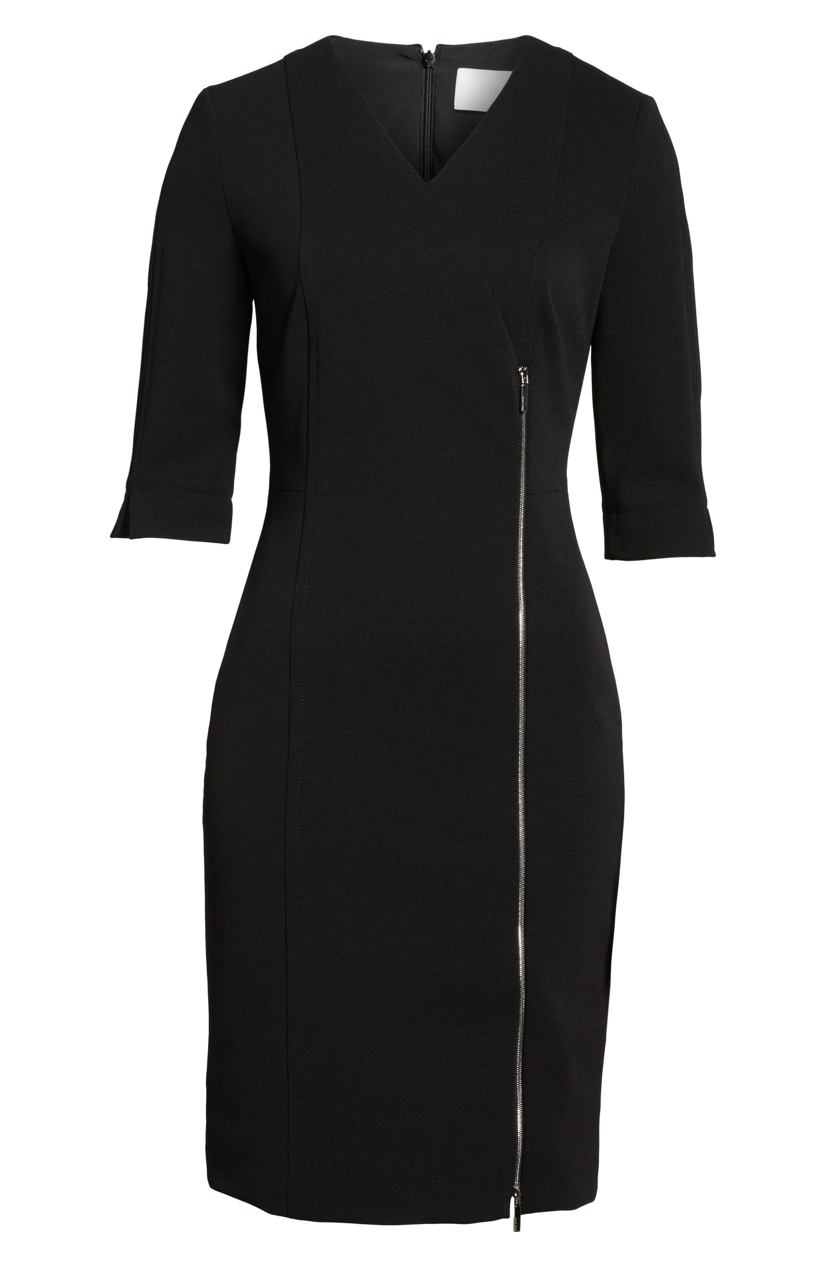 Deazema Twill Jersey Dress,                             Alternate thumbnail 6, color,                             Black