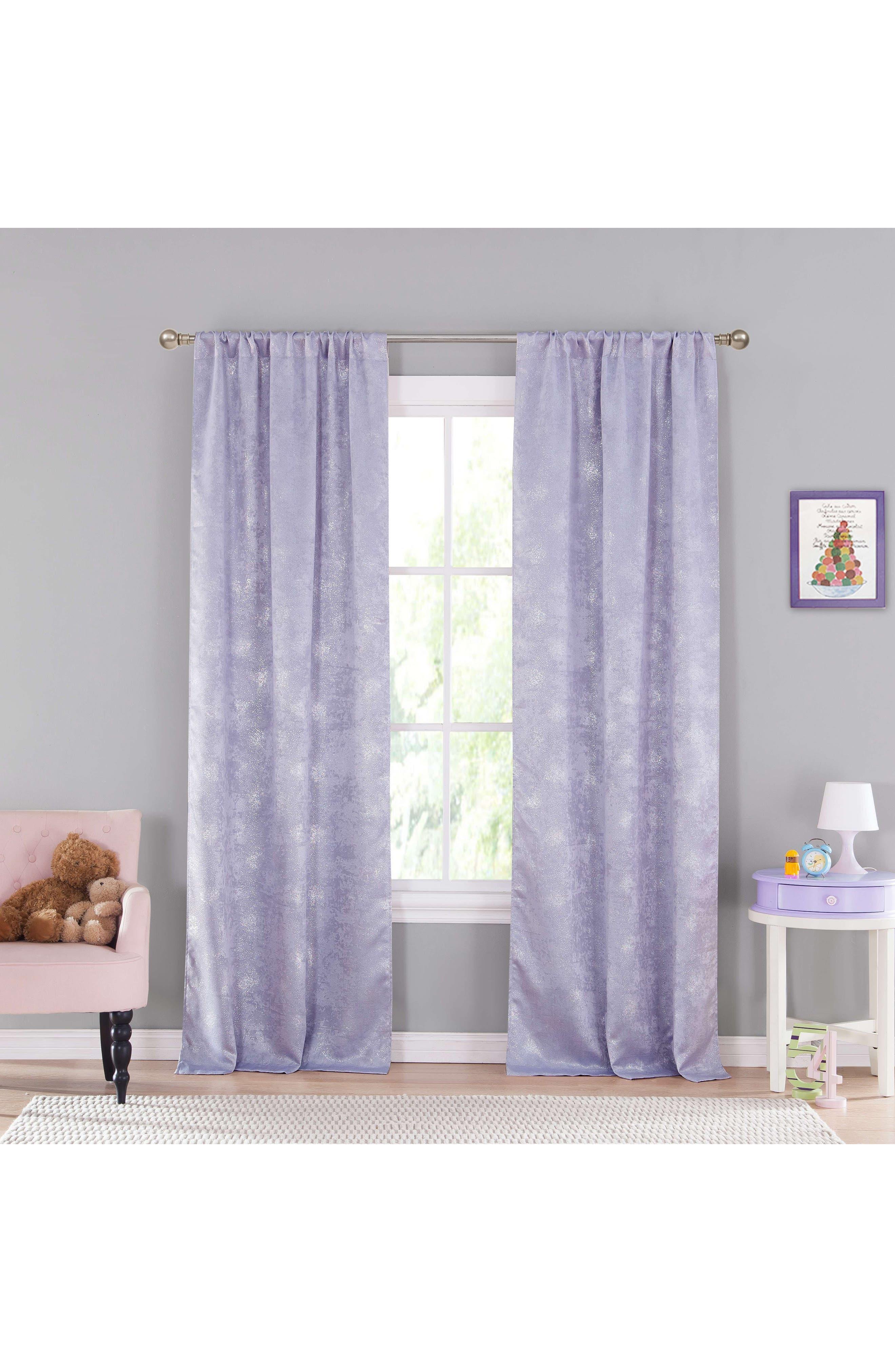Clarice Metallic Blackout Window Panels,                             Main thumbnail 1, color,                             Lavender
