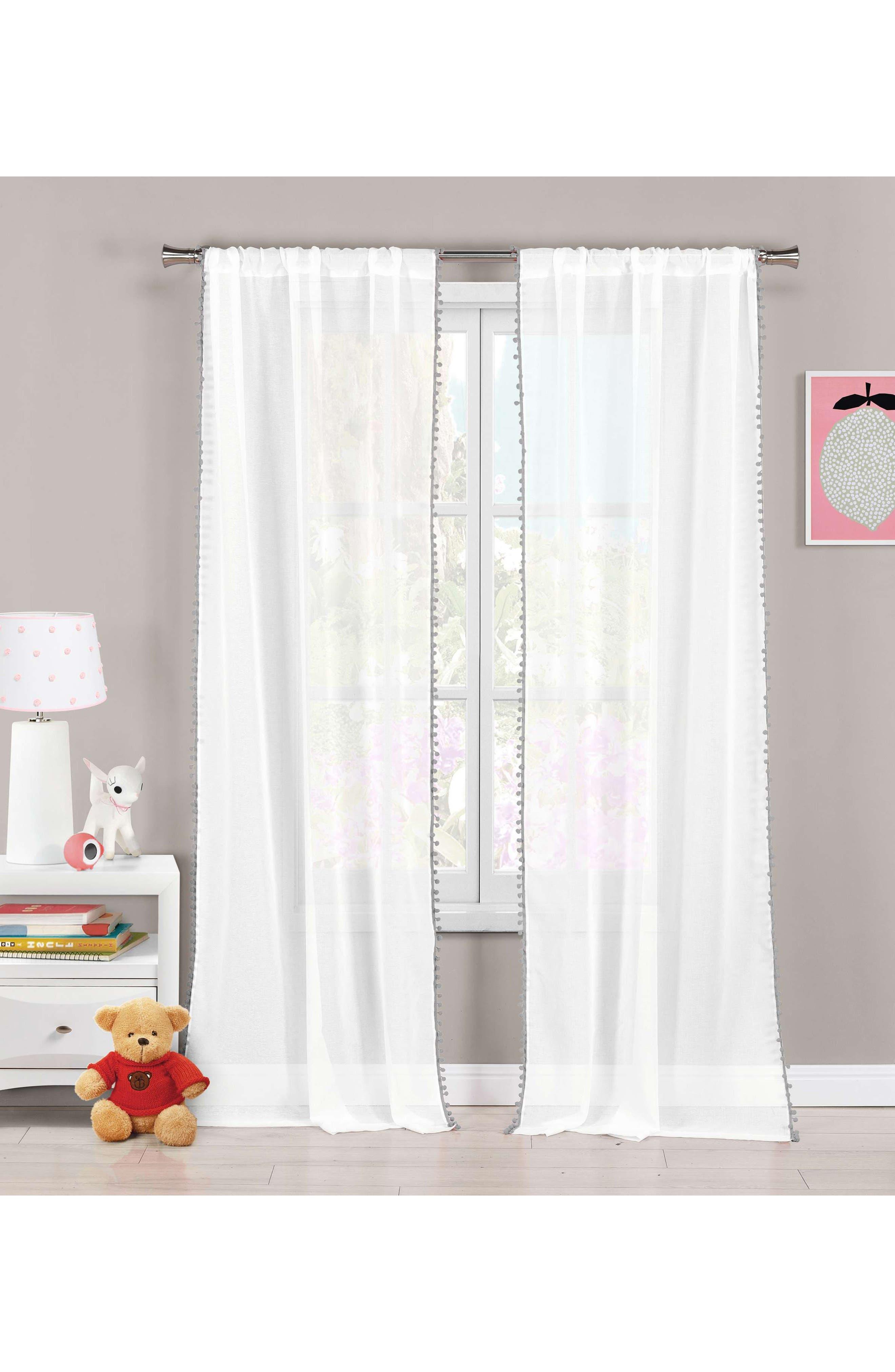 Aveline Pom Trim Curtain Panels,                         Main,                         color, Grey
