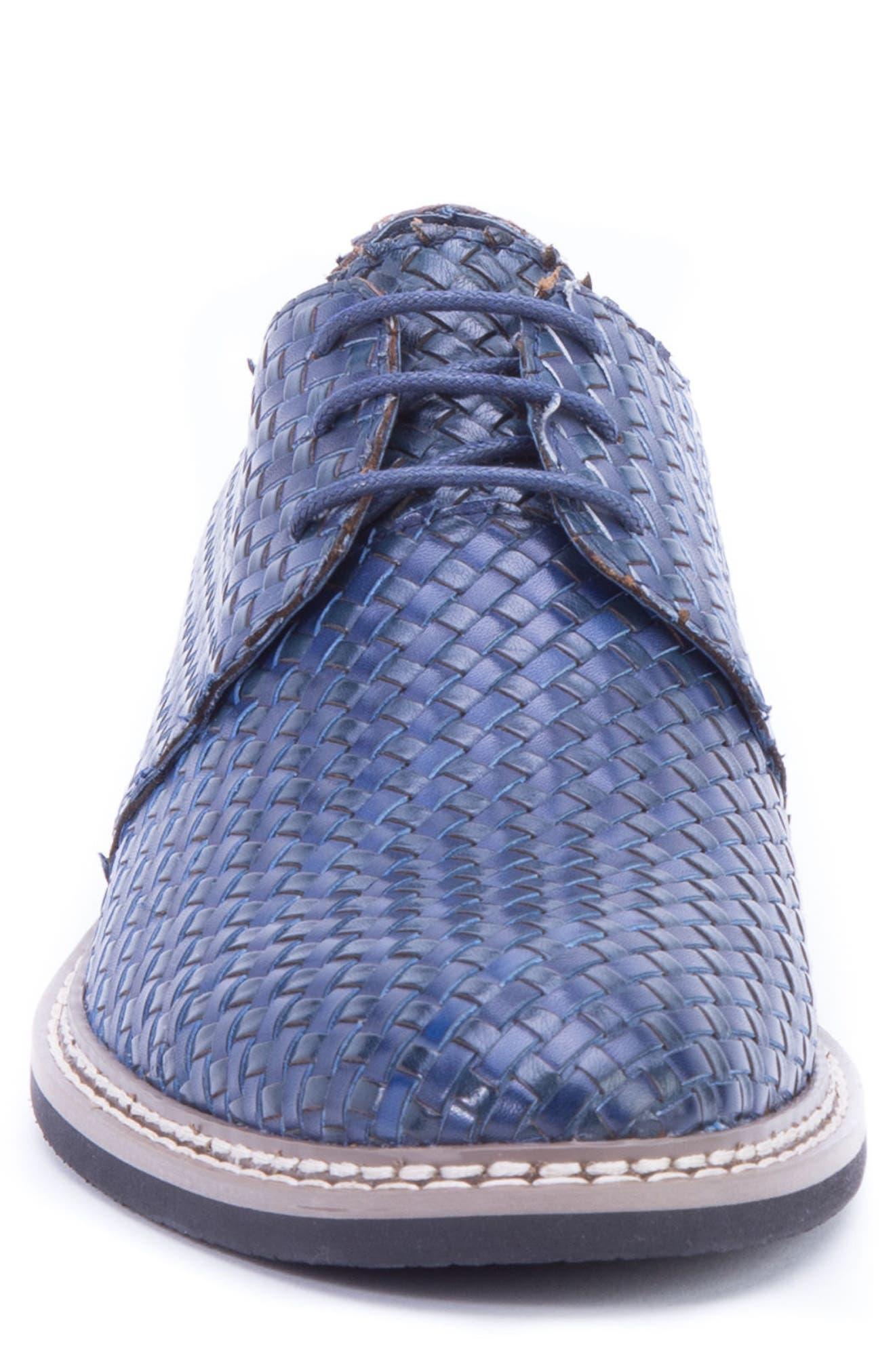 Cassatt Basketweave Derby,                             Alternate thumbnail 4, color,                             Navy Leather